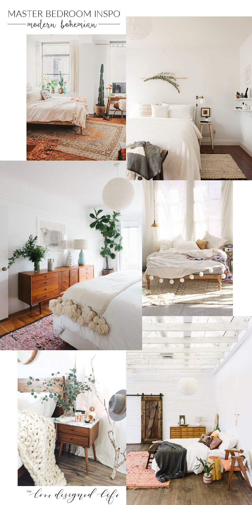 modern bohemian master bedroom inspiration | thelovedesignedlife.com #homedesign #modernbohemian #masterbedroom