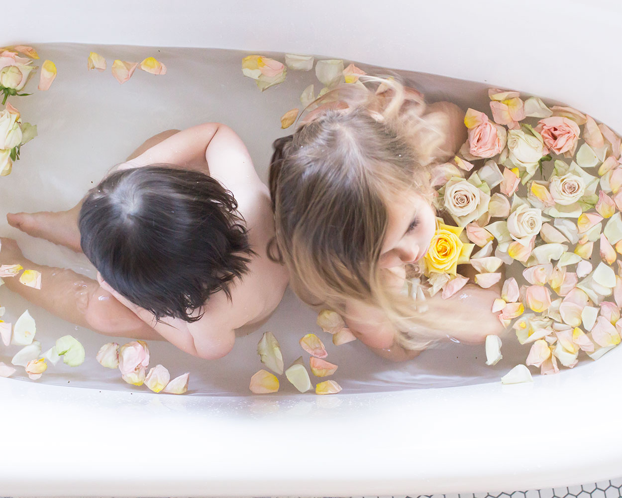love these two in my bathtub, especially when flowers are involved! | thelovedesignedife.com #bathtime #flowers #flowerbath