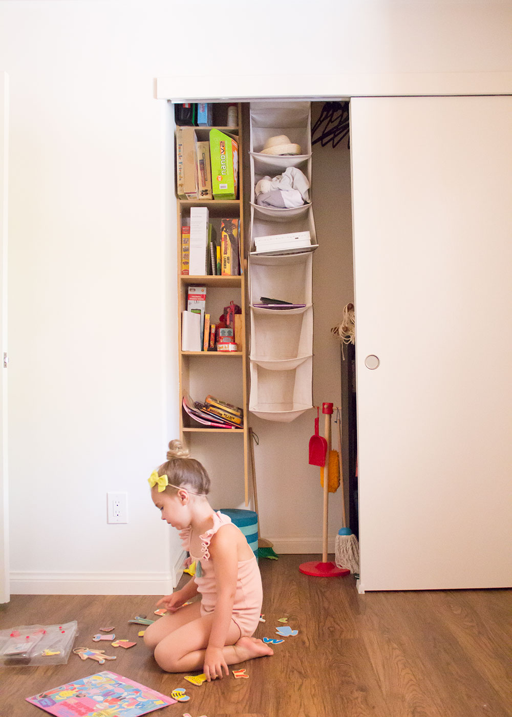 our current playroom closet. it needs help! | thelovedesignedlife.com #californiaclosets #organization