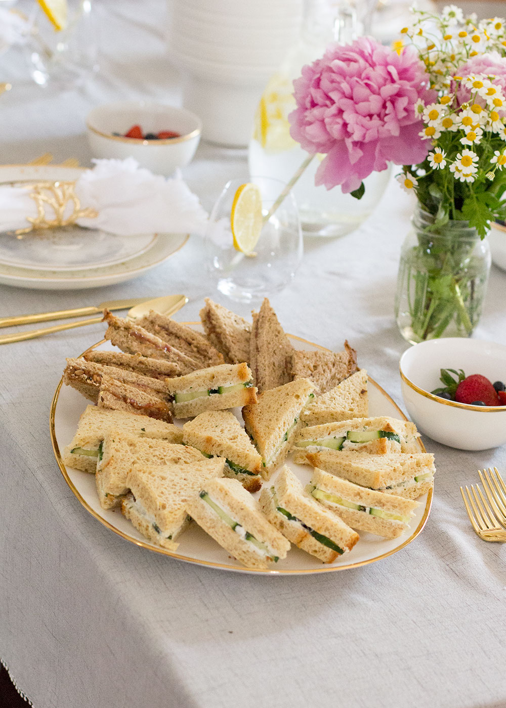 tea sandwiches for a mama luncheon to celebrate mother's day!