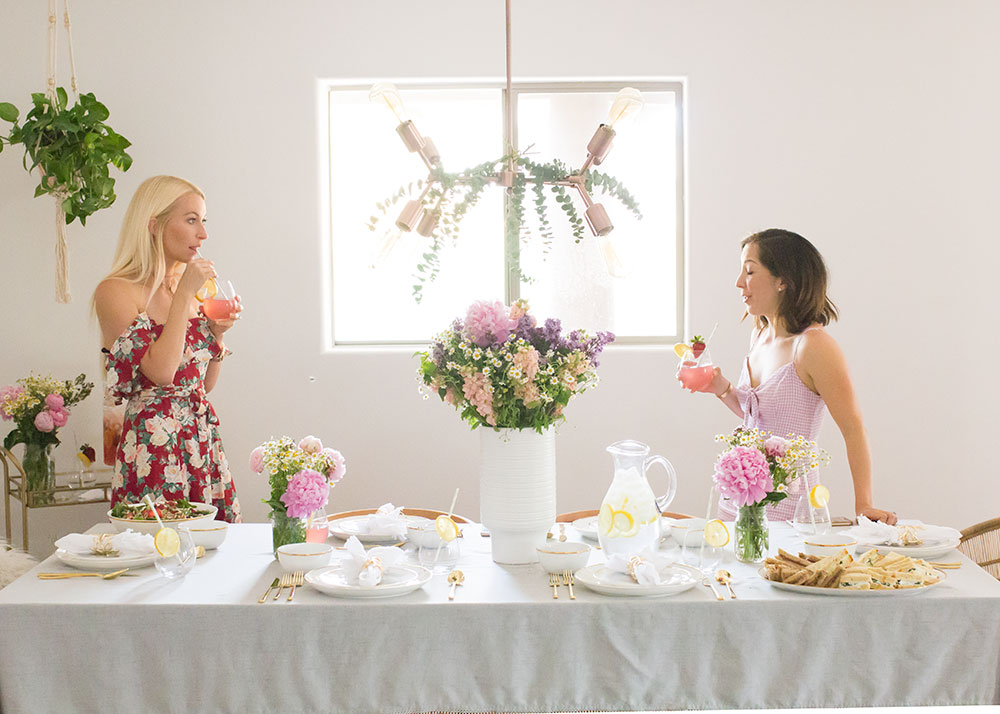 mixing and mingling at a mama luncheon | thelovedesignedlife.com #motherhood #community #tablescape #mothersday