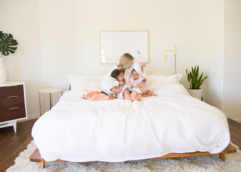 I love reading to these kiddos in our big bed | thelovedesignedlife.com #bedtimestory