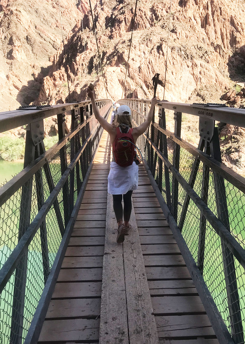 crossing the bridge to phantom ranch | thelovedesignedlife.com #grandcanyon #rimtorim