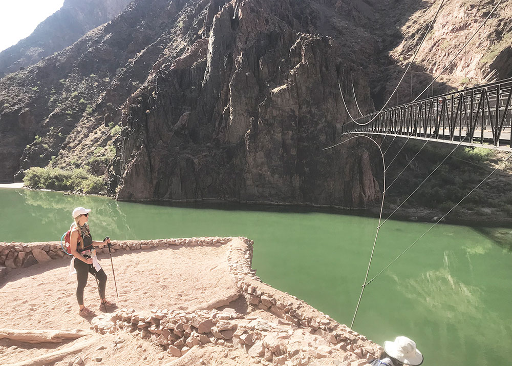 conquered my fear of crossing the bridge in our grand canyon hike | thelovedesignedlife.com #grandcanyon #rimtorim