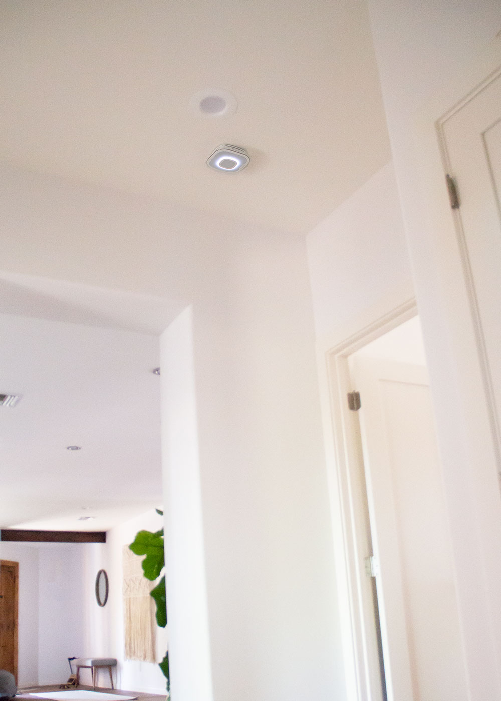 the onelink safe & sound smoke and carbon monoxide detector in our home. it also connects to our alexa! | thelovedesignedlife.com #ONELINKSTORY #smarthome #smokedetector #family #sponsored