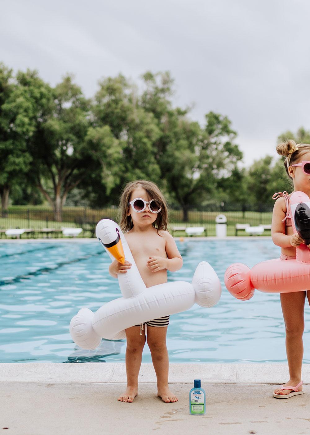 swan float, flamingo float, and Blue Lizard Australian Sunscreen   thelovedesignedlife.com