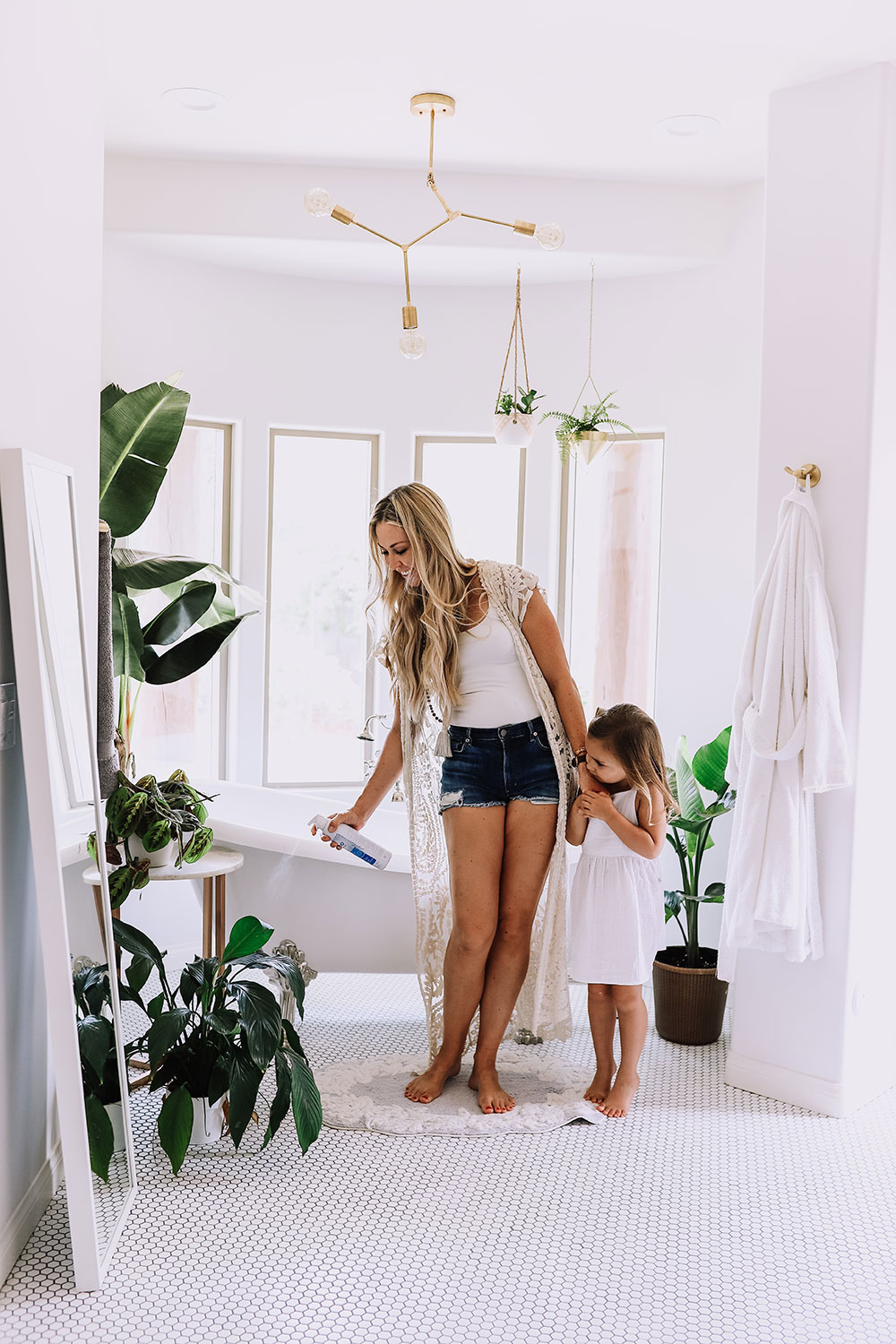 mama and mini, keeping the plants bug free with zevo instant action fly spray | thelovedesignedlife.com #bathroomgoals #masterbathroom #cleanhome #healthyhome #bestbugspray