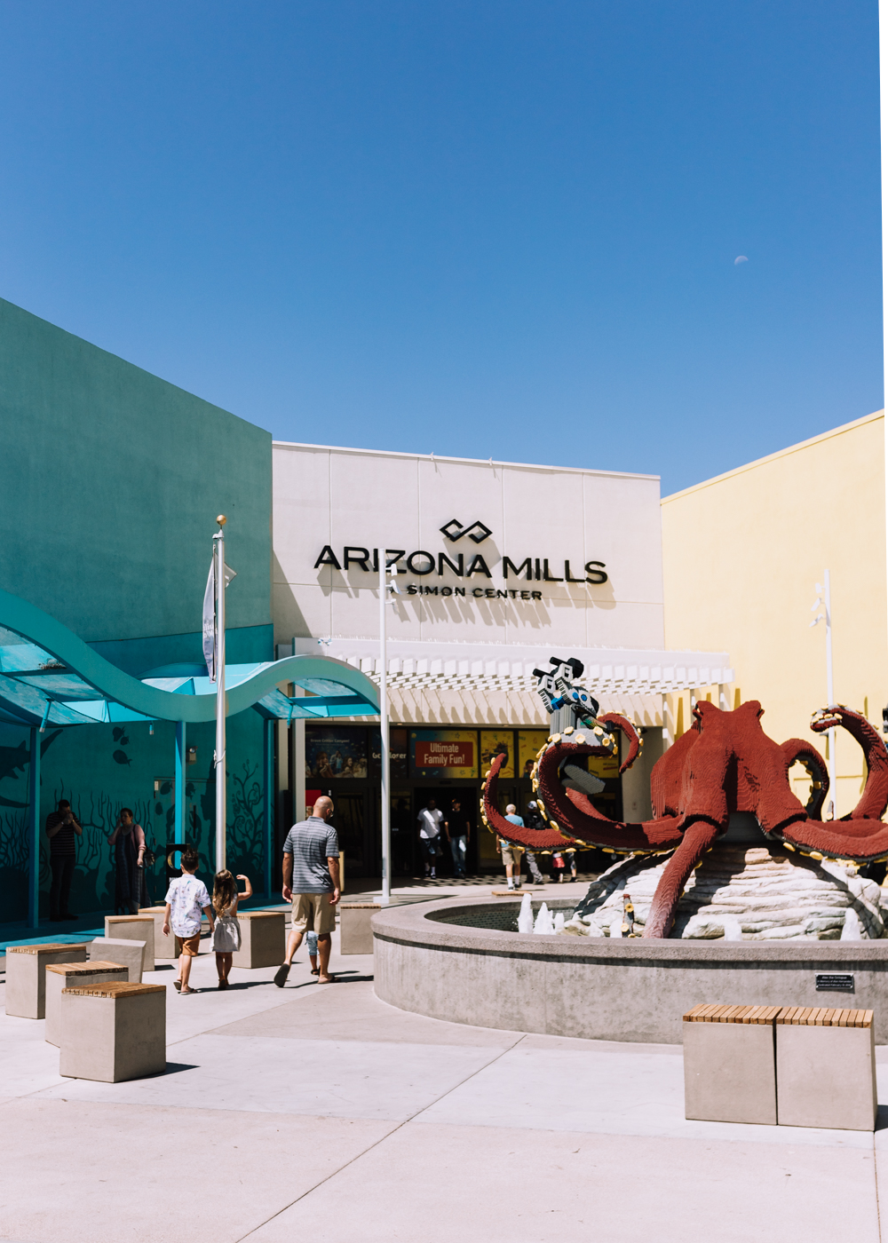 our family walking in to the Arizona Mills Shopping Center for some family fun! | thelovedesignedlife.com #arizonamills #funwithkids