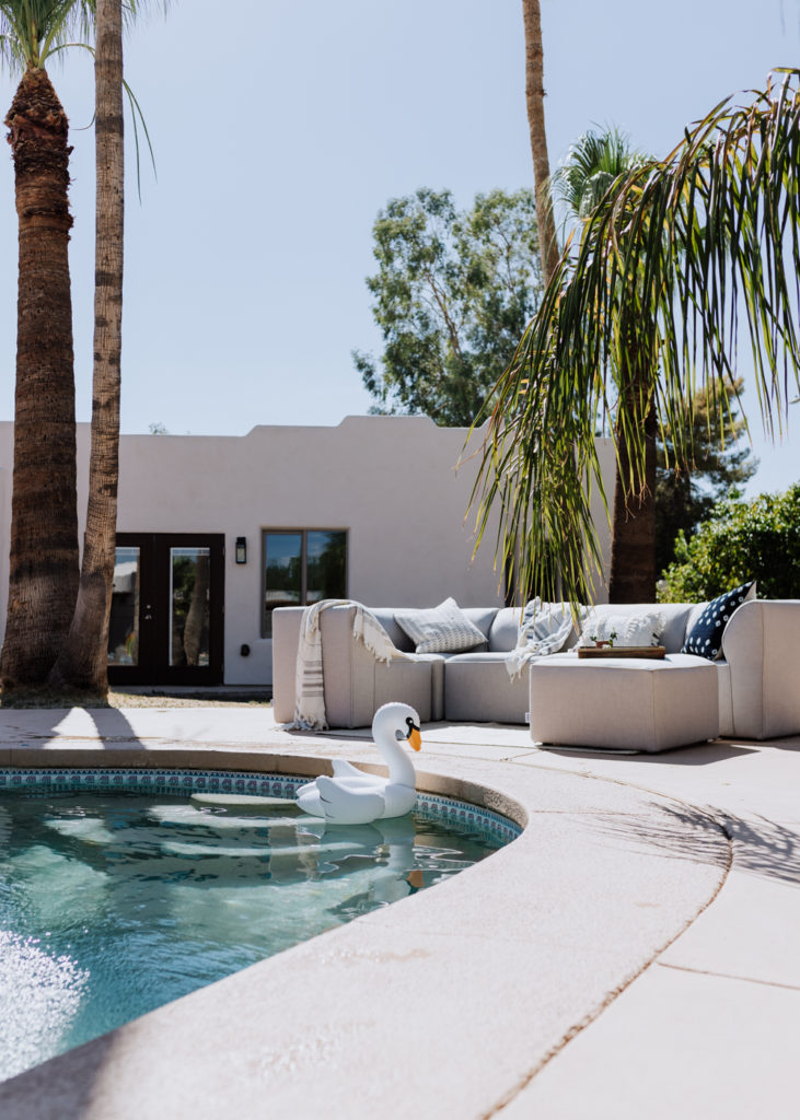 our pool with our new Big Joe outdoor sectional | thelovedesignedlife.com #backyard