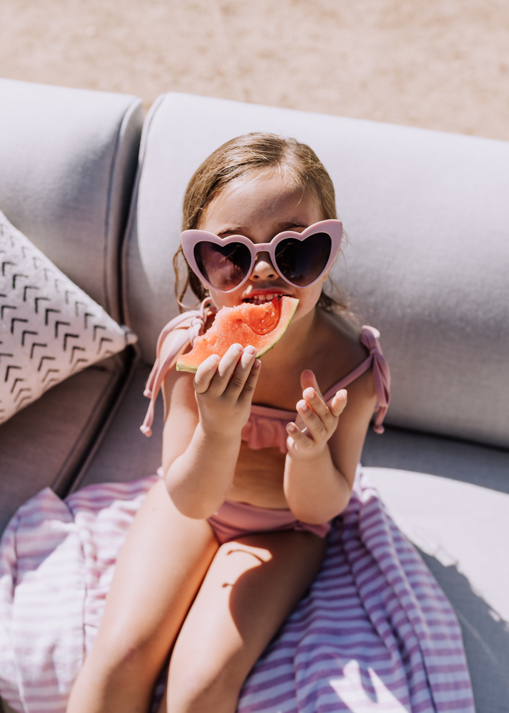 watermelon and heart sunnies in the summer! | thelovedesignedlife.com #watermelon #swimming