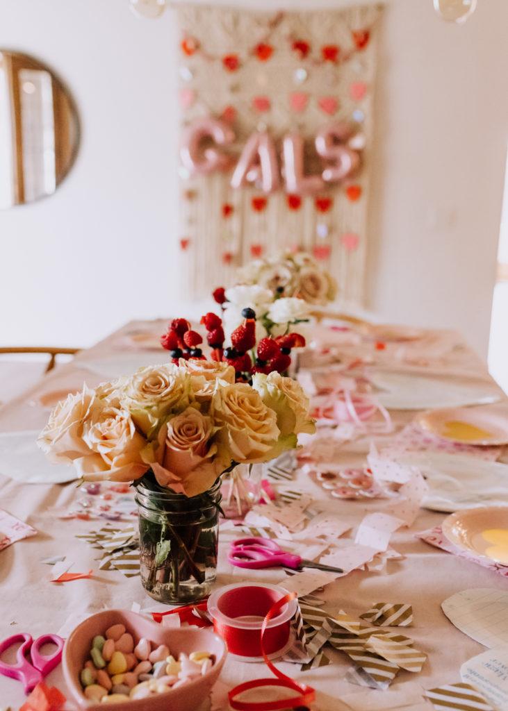 the spread for our little galentine's valentine's day playdate | thelovedesignedlife.com #valentinesday #valetinescraft #kidscraft #kids
