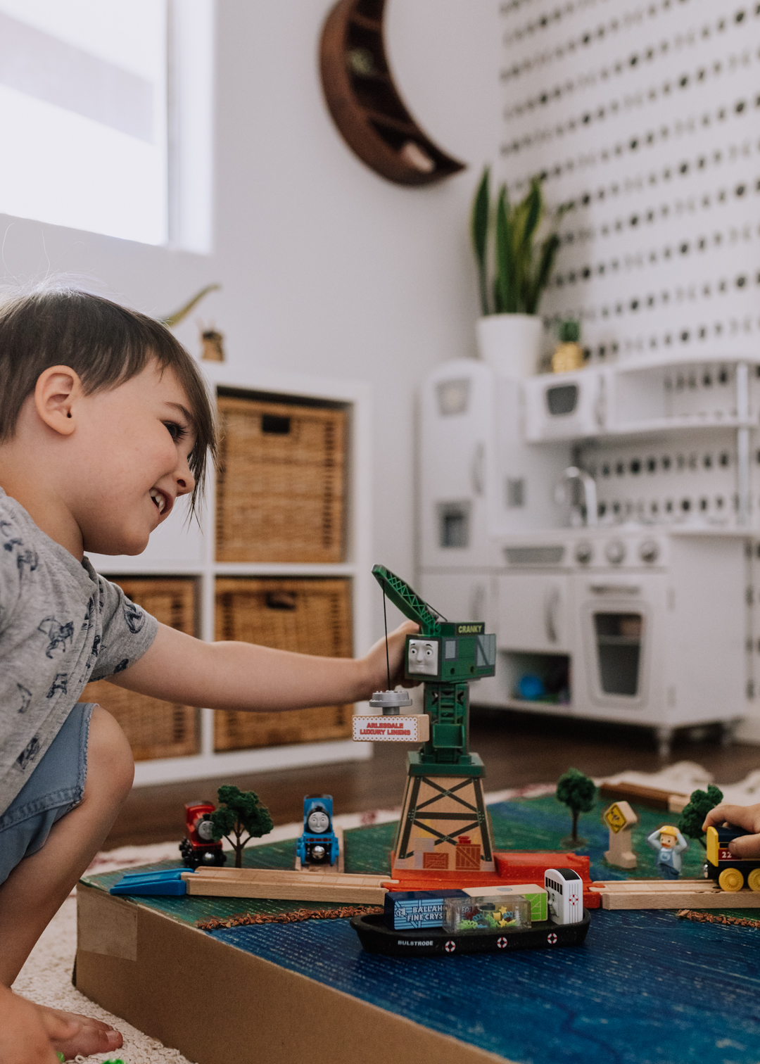 pretend play with Cranky the Crane | thelovedesignedlife.com