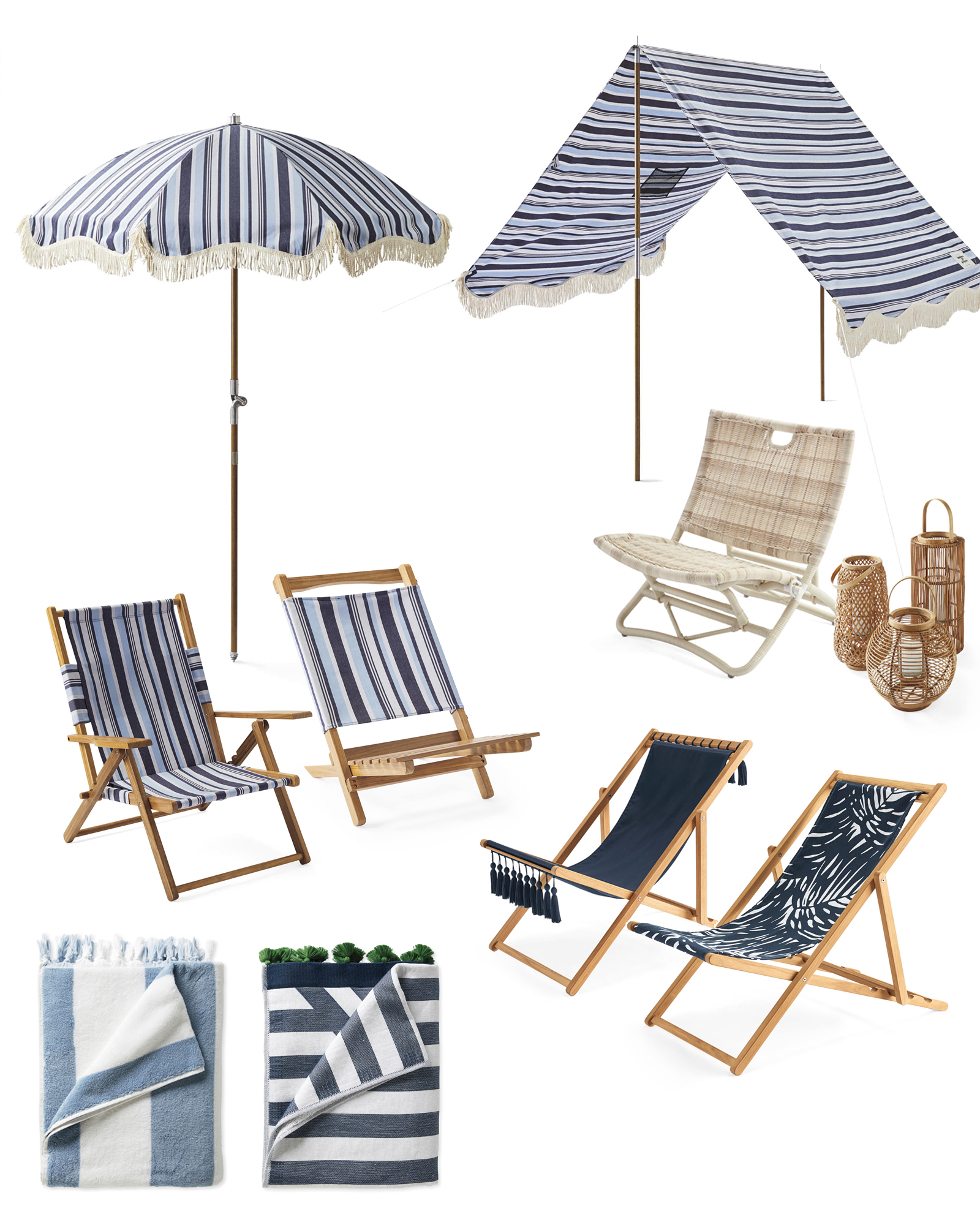 beach essentials for sun, shade, and sand
