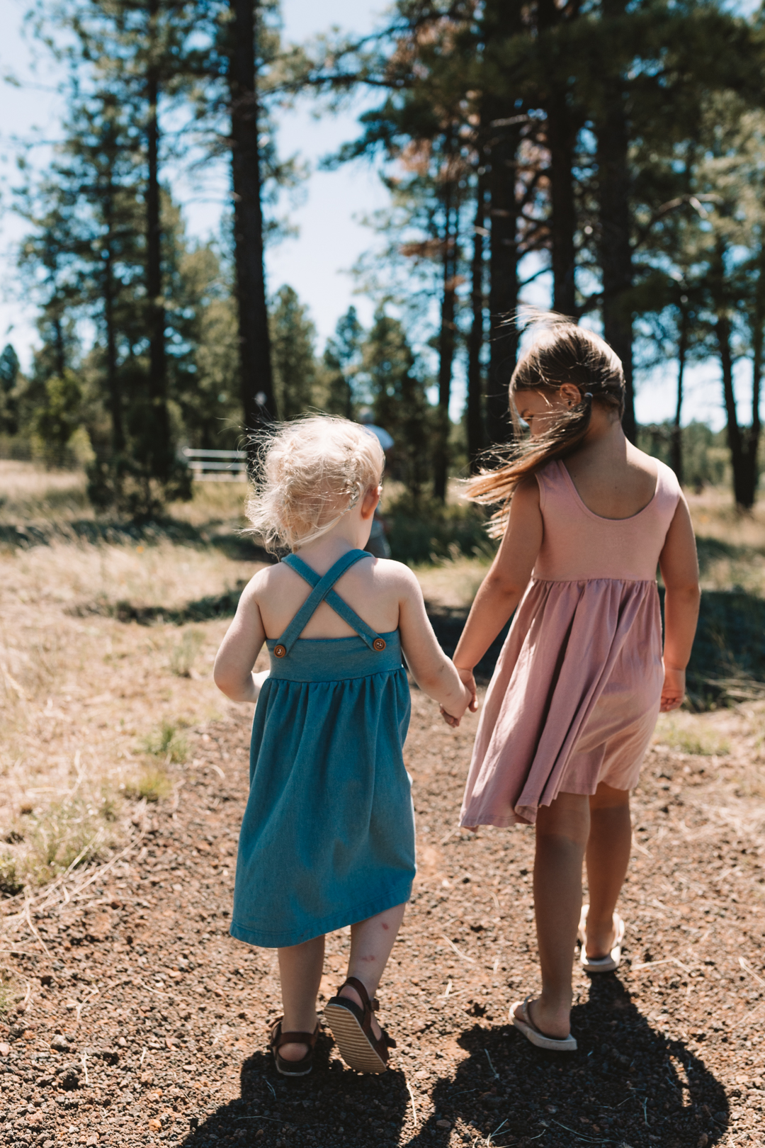 2 little girls walking together holding hands in the woods