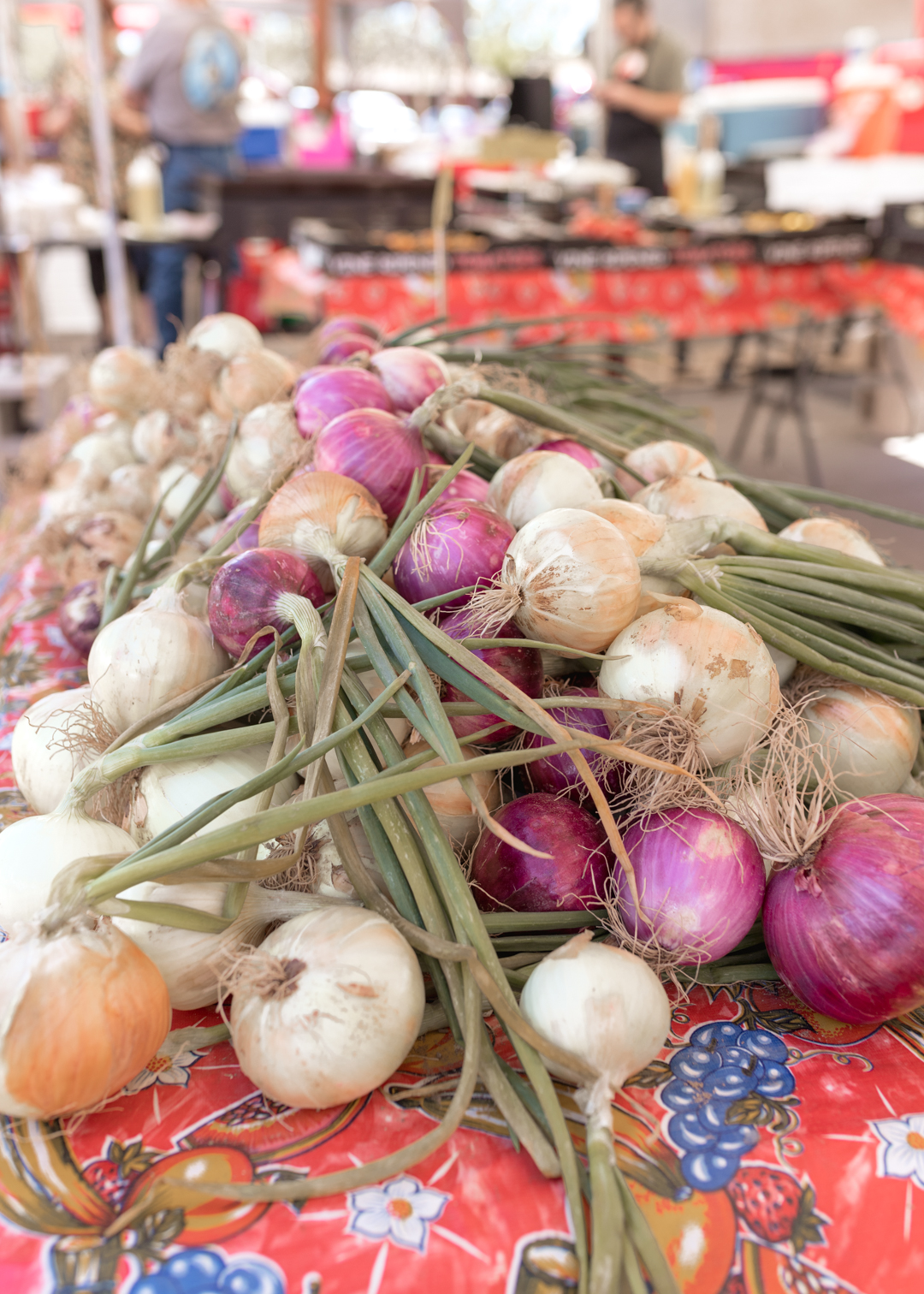 onions at the farmer's market