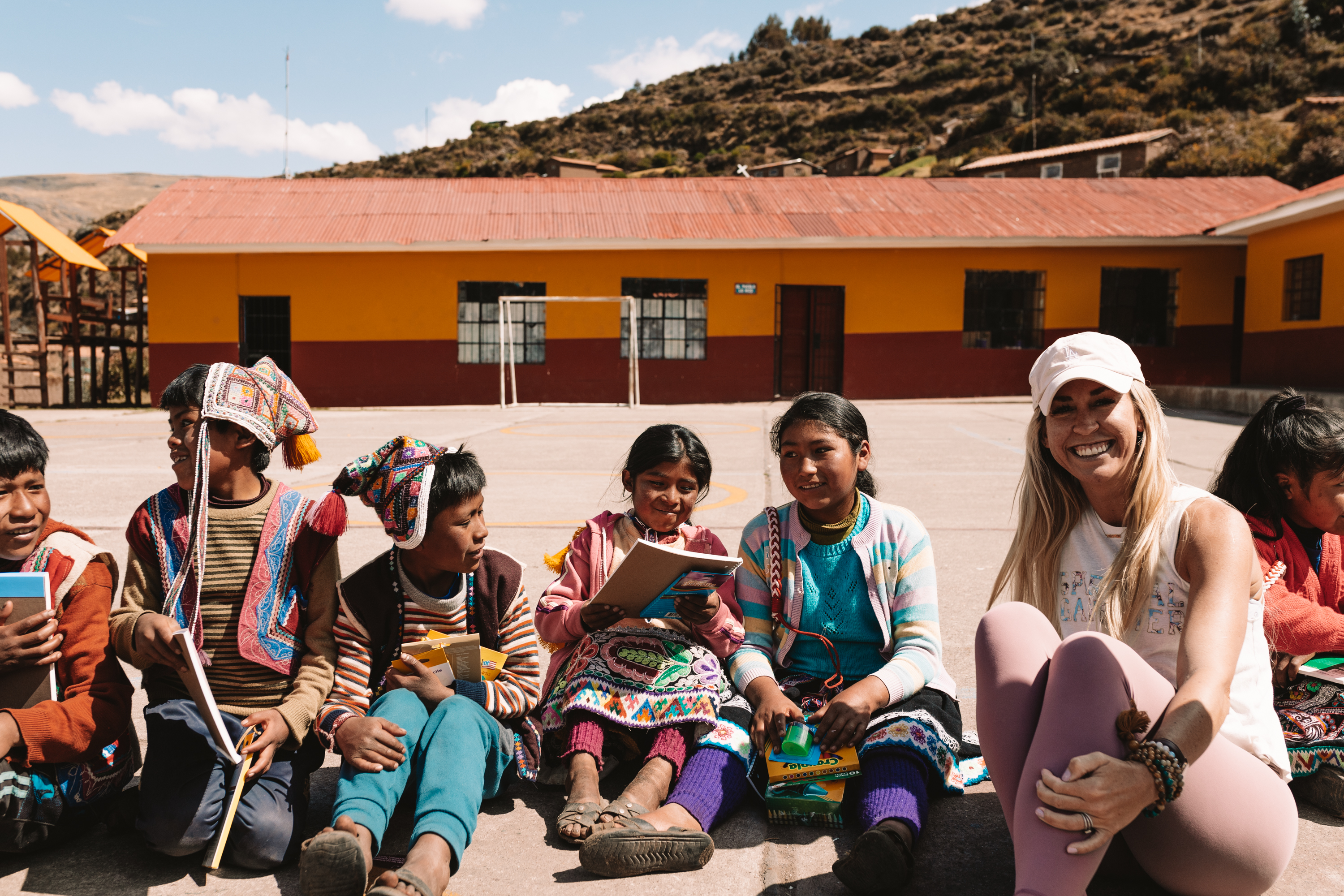 sitting with the children of the school in the Andean mountains of Peru