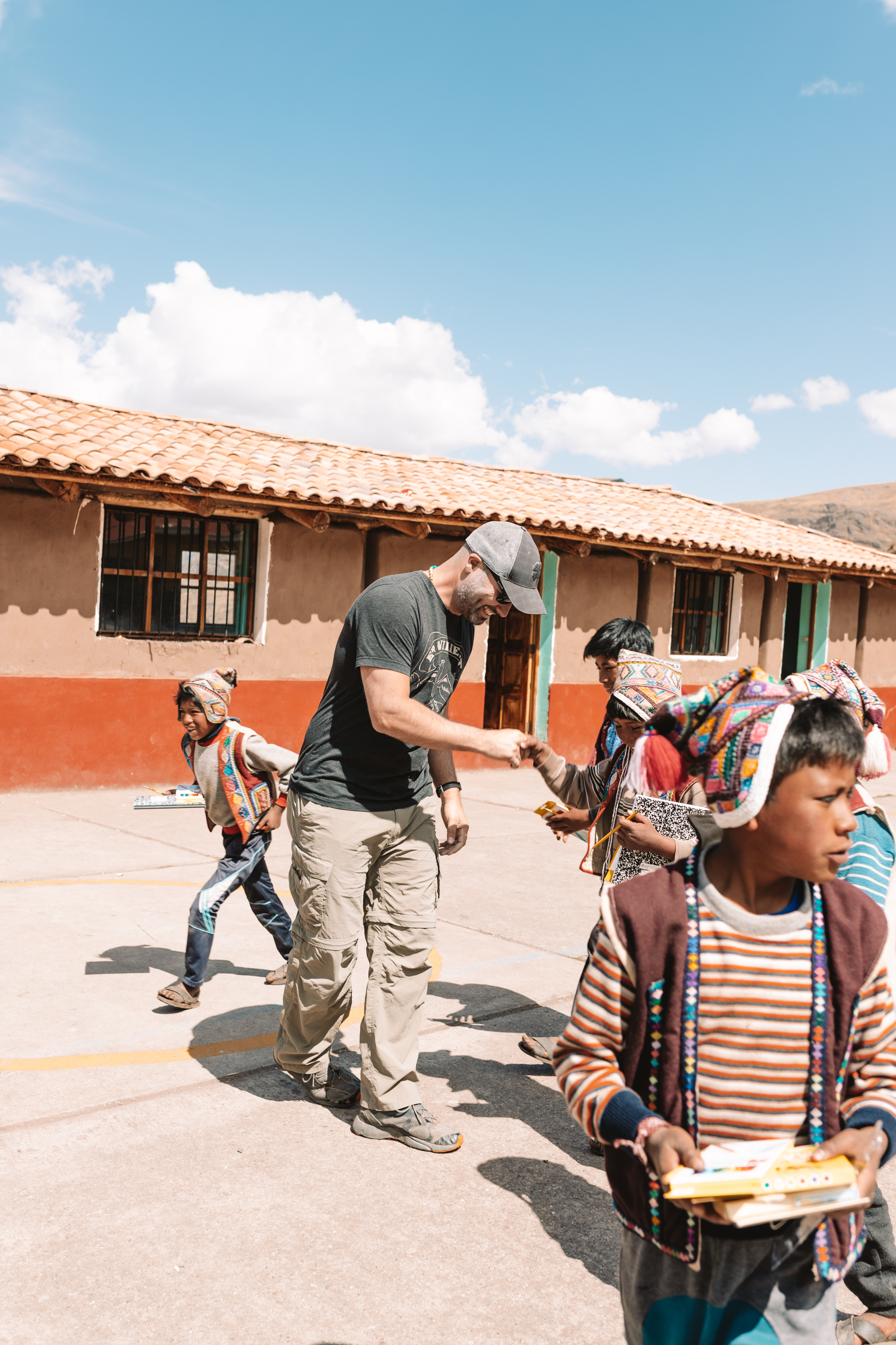 playing futbol with the school children in Peru