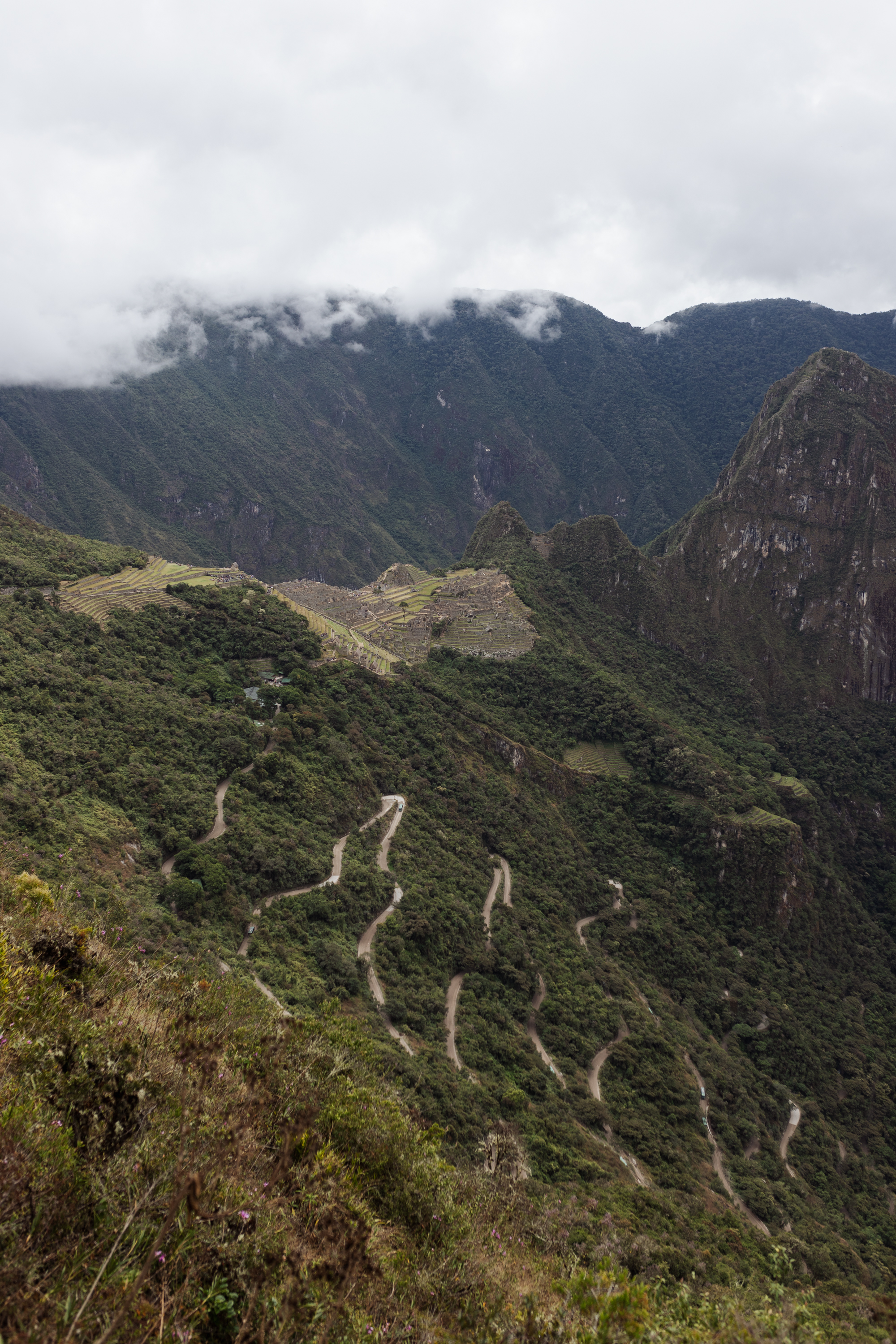 the switchbacks leading up to Machu Picchu #peru #machupicchu #sacredvalley
