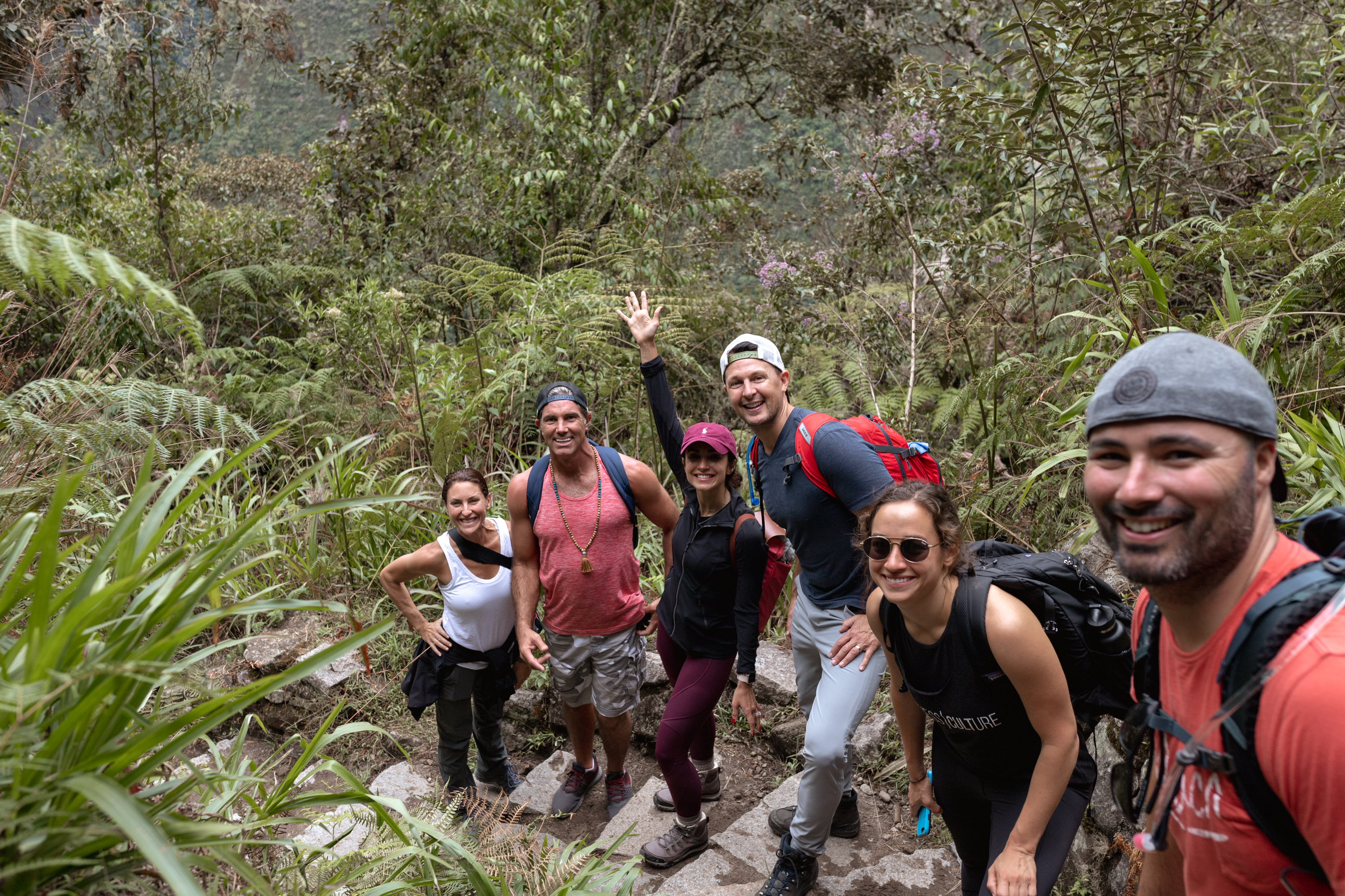 hiking down from Machu Picchu with this crew #hiking #getoutside #travel #peru