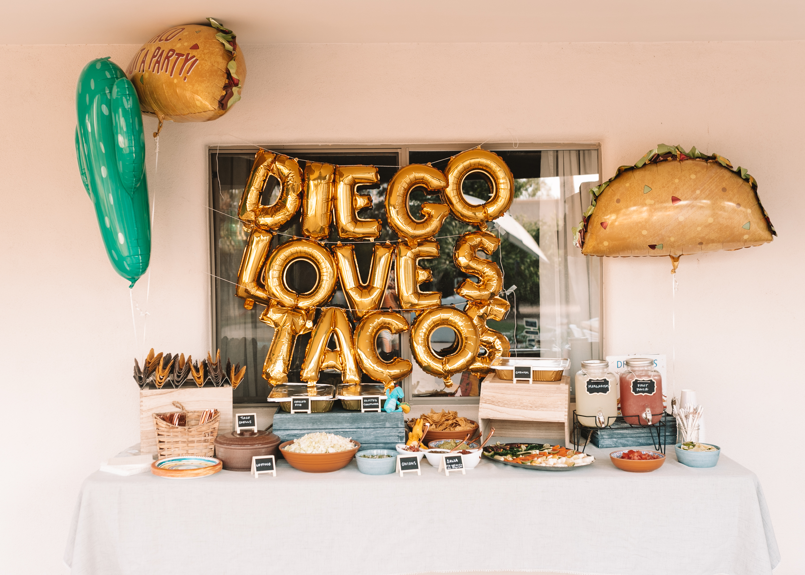 pull right up to the taco bar for this dragon's birthday party
