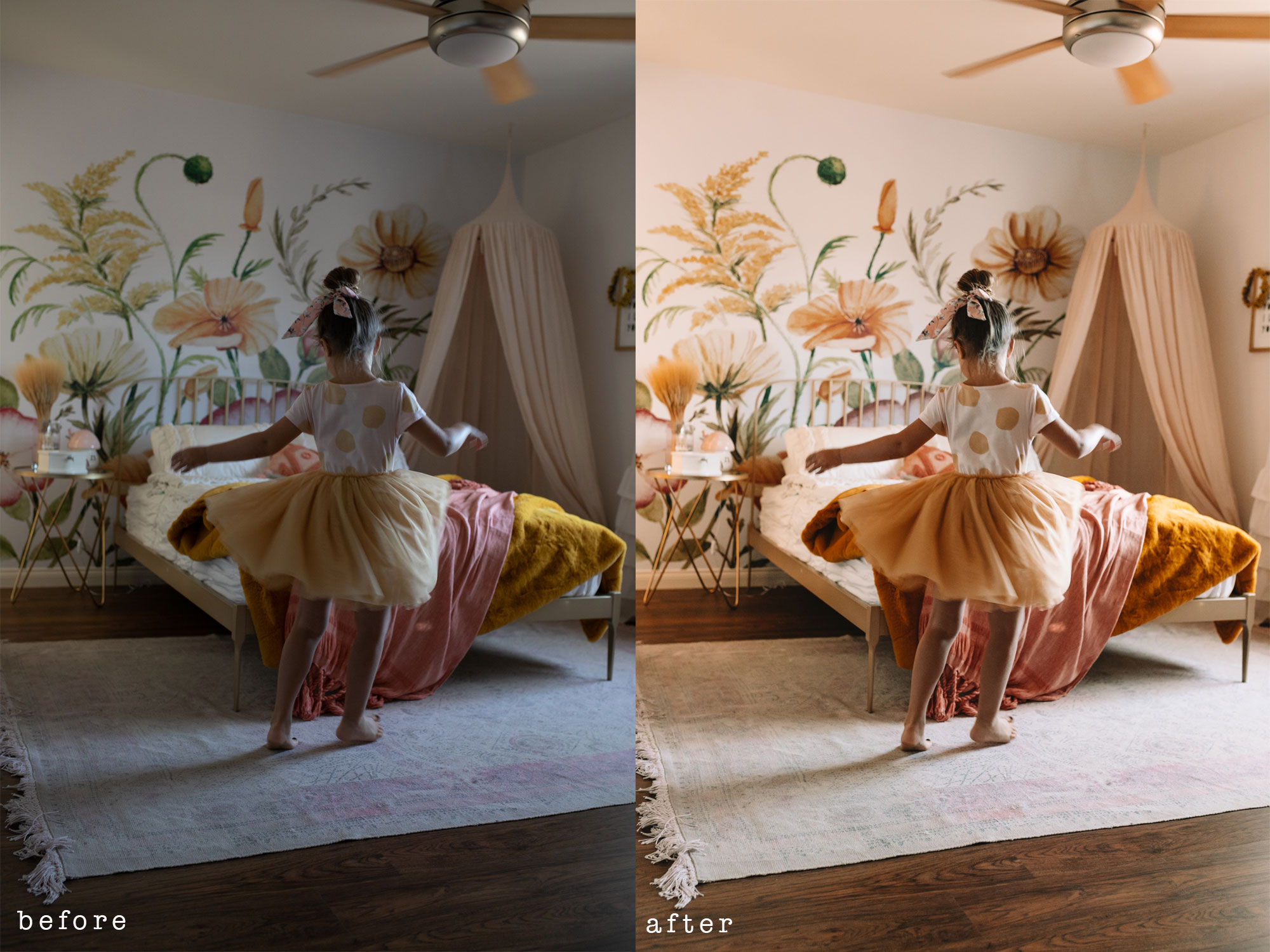 new presets from the lovedesignedlife #theldlpresets #lightroompresets #kidsroom #biggirlroom #photoediting