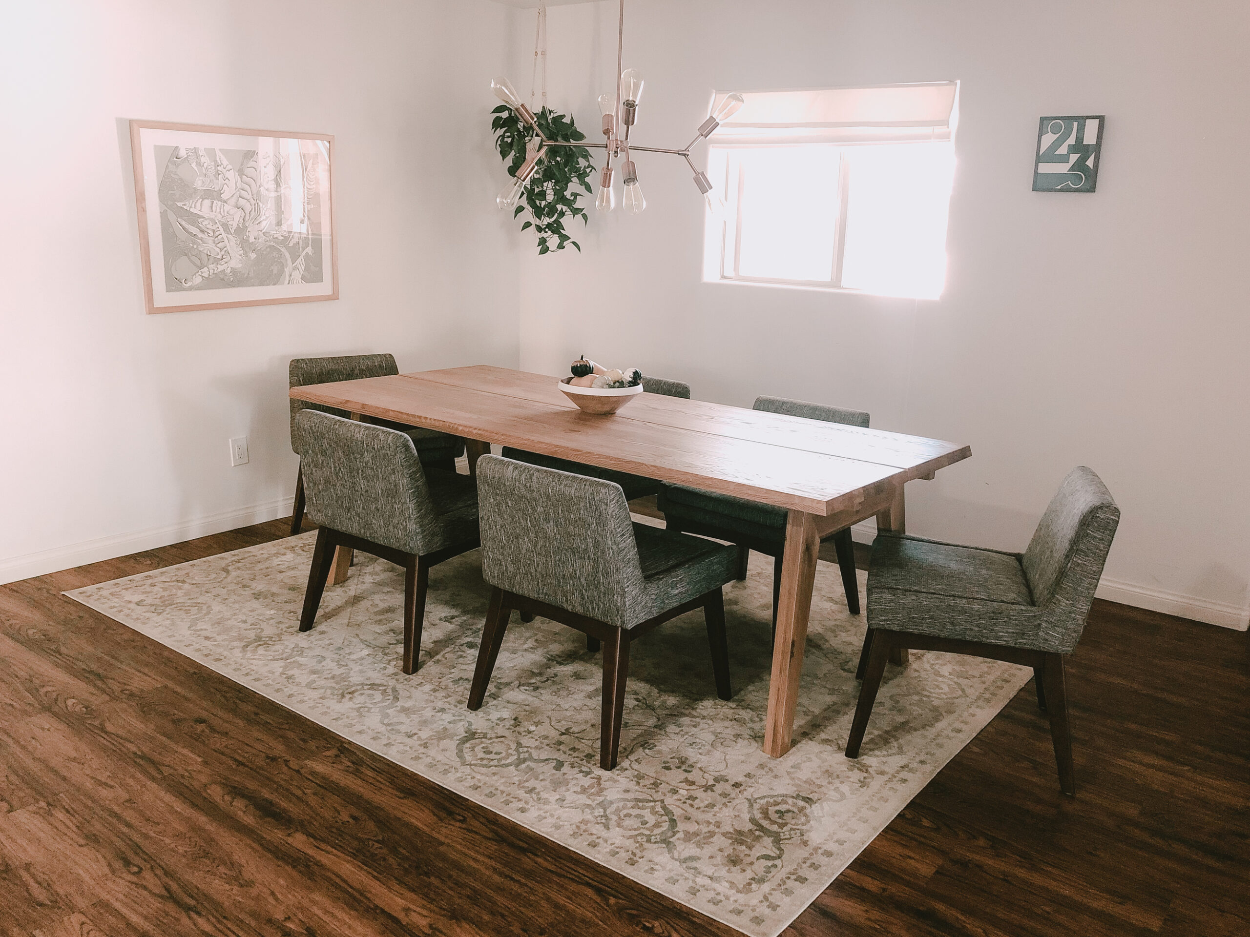 the chairs that didn't work quite right in our dining room and got sent back. #midcenturymodern #diningroomreveal #beforeandafter