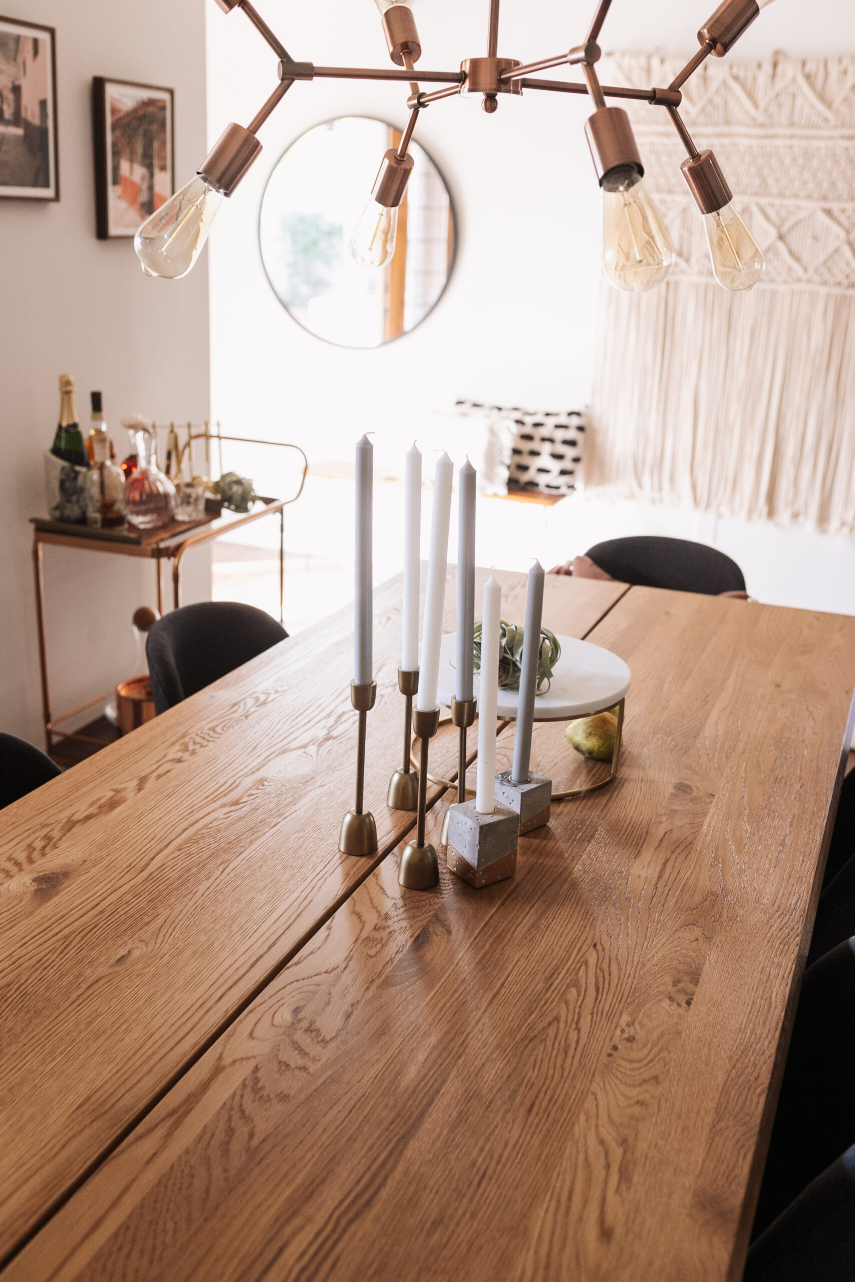 beautiful solid oak extendable dining table from article. #ourarticle #theldlhome #diningroom
