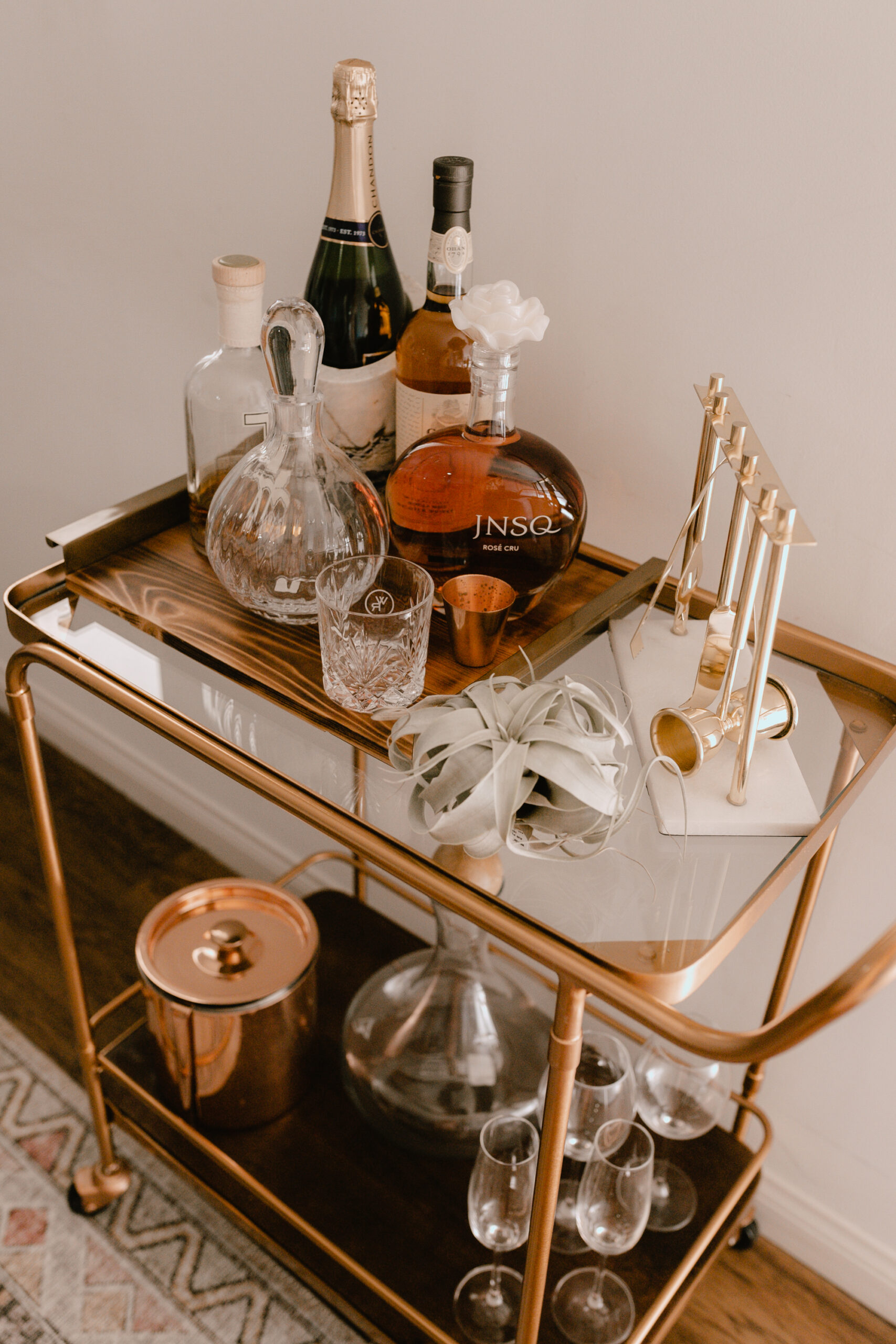bar cart ready for the weekend! #theldlhome #barcart #barcartstyling