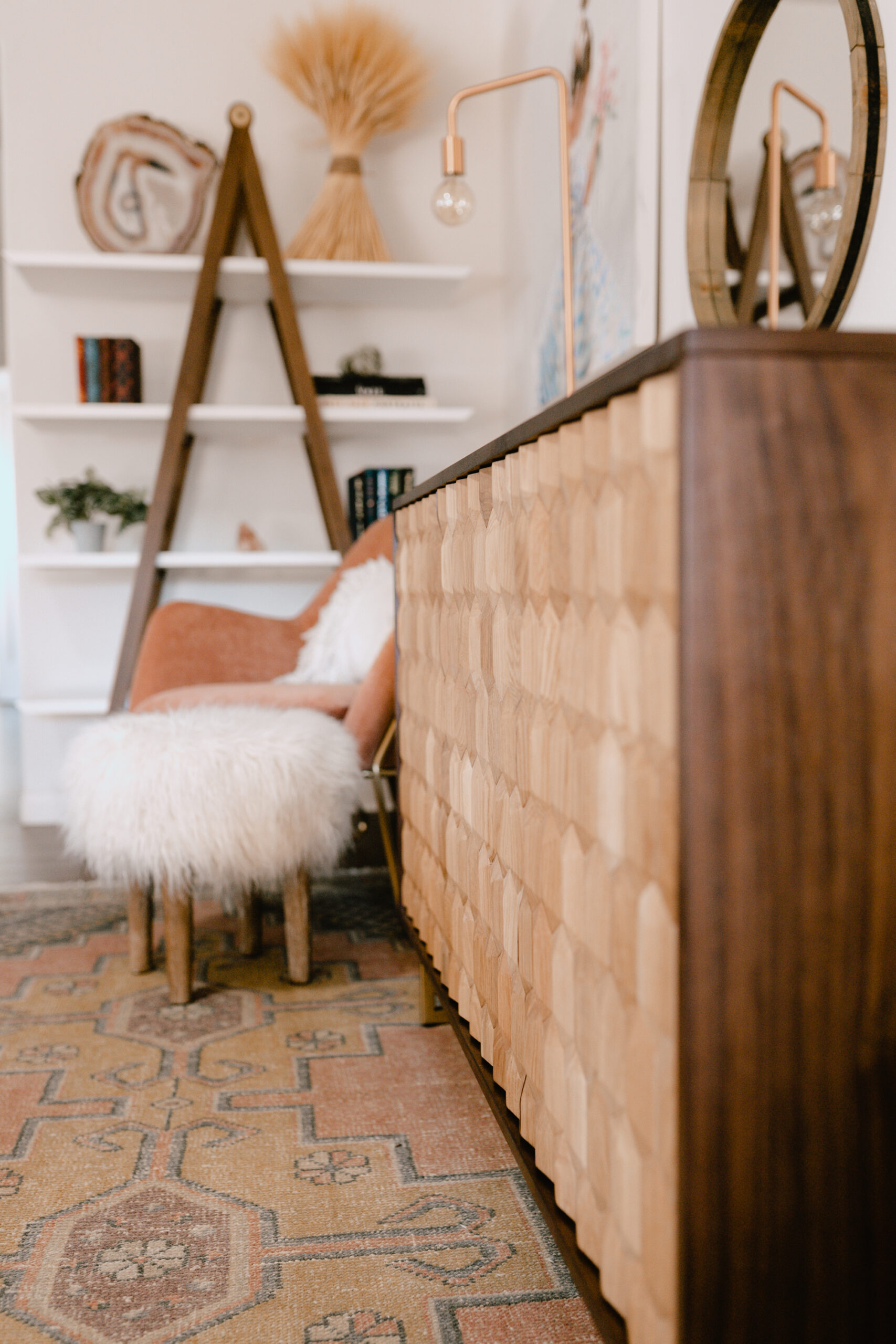 close up view of our new geome sideboard from article. #theldlhome #sideboard #homedesign #midcenturymodern