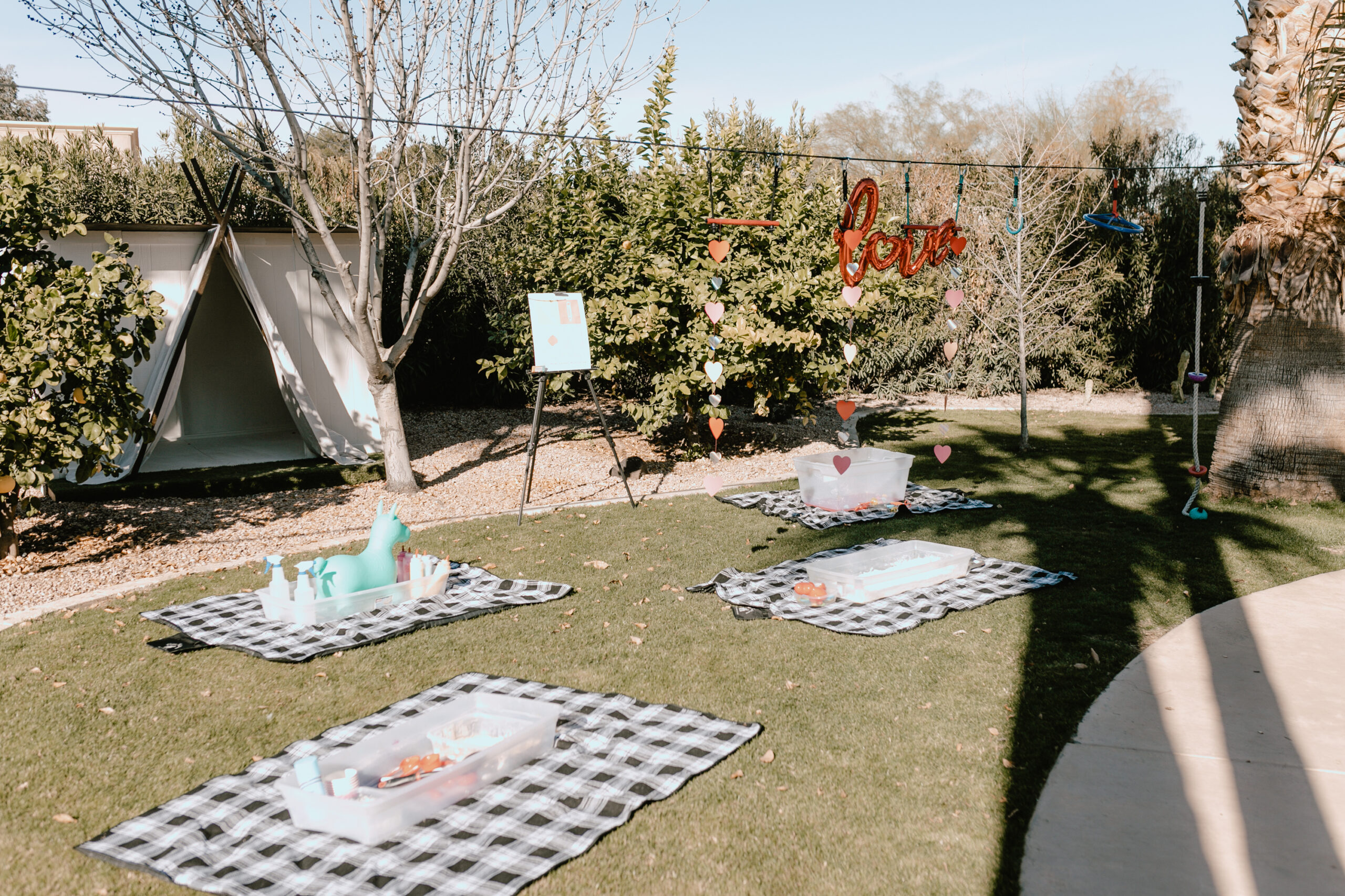 sensory bins in the yard from masterpiece art parties. #valentineday #playdate #artparty