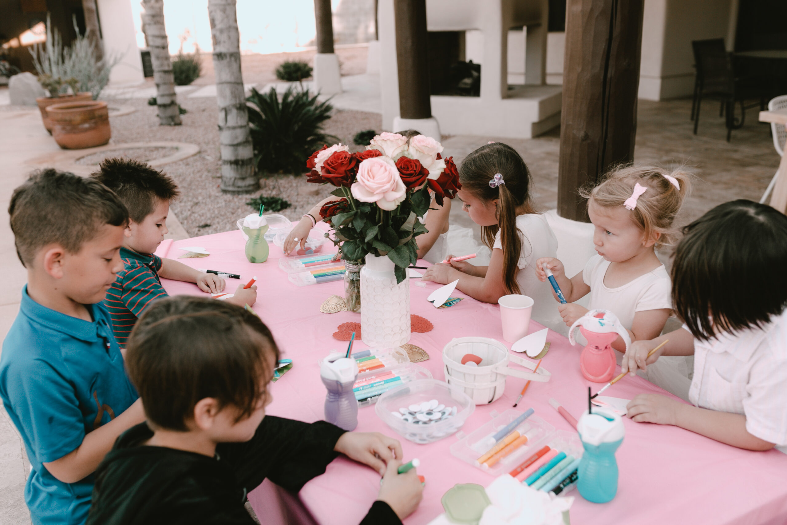 crafts for all ages at our valentine's day playdate. #thelovedesignedlife #loveday #valentinescraftparty