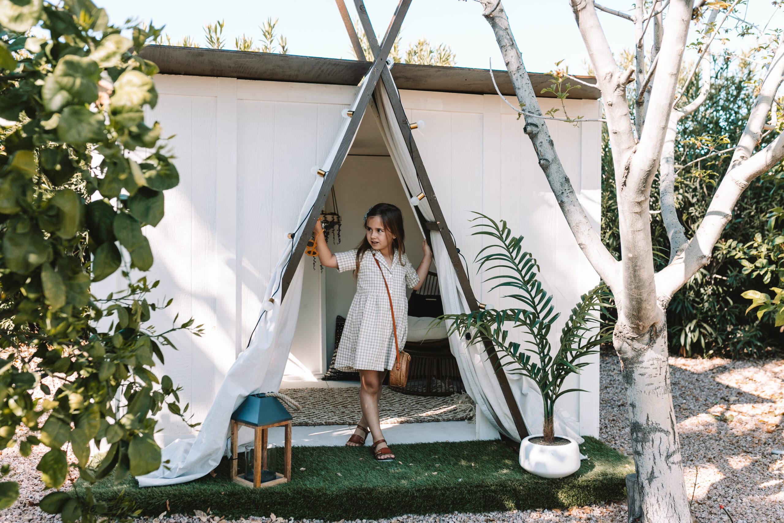 the kid's backyard clubhouse is on the blog! thelovedesignedlife.com #thelovedesignedlife #habitandhome #childsplay #kidsplayhouse