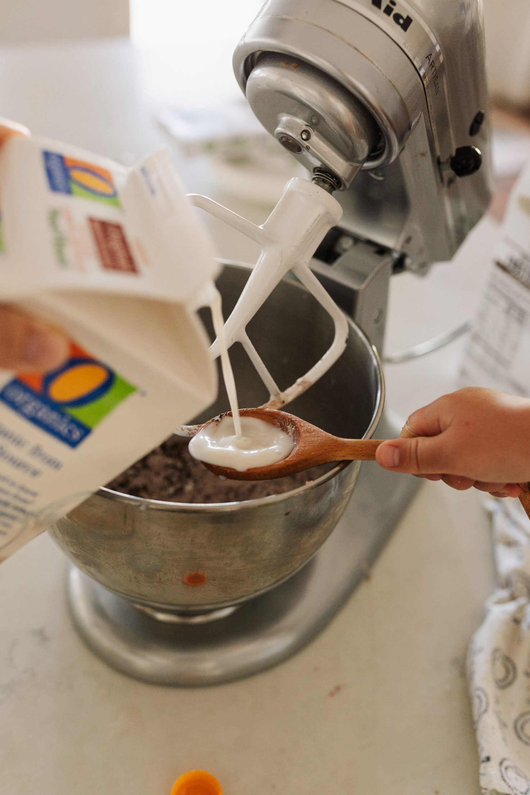 o organic milk going into our vegan buttercream frosting. #theldlhome #thelovedesignedlife #veganbaking