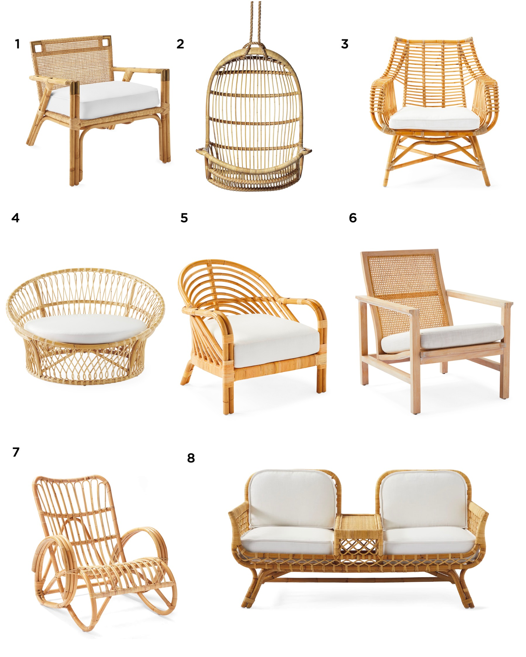 all the pretty rattan chairs from Serena & Lily, specially prices this Labor Day weekend! #rattanchair #hangingchair #modernboho #bohostyle #outdoorfurniture #interiordesign