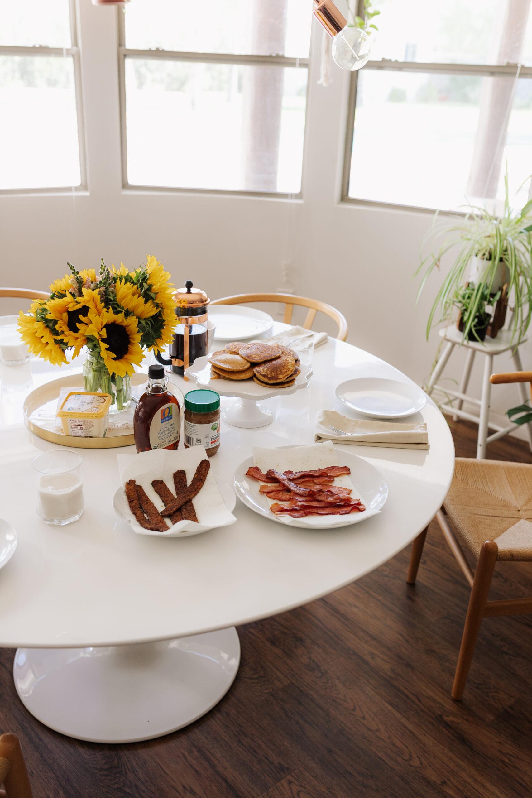 our sunday morning fall breakfast spread! #pumpkinspicepancakes #veganbacon #coffee #dairyfree #glutenfree