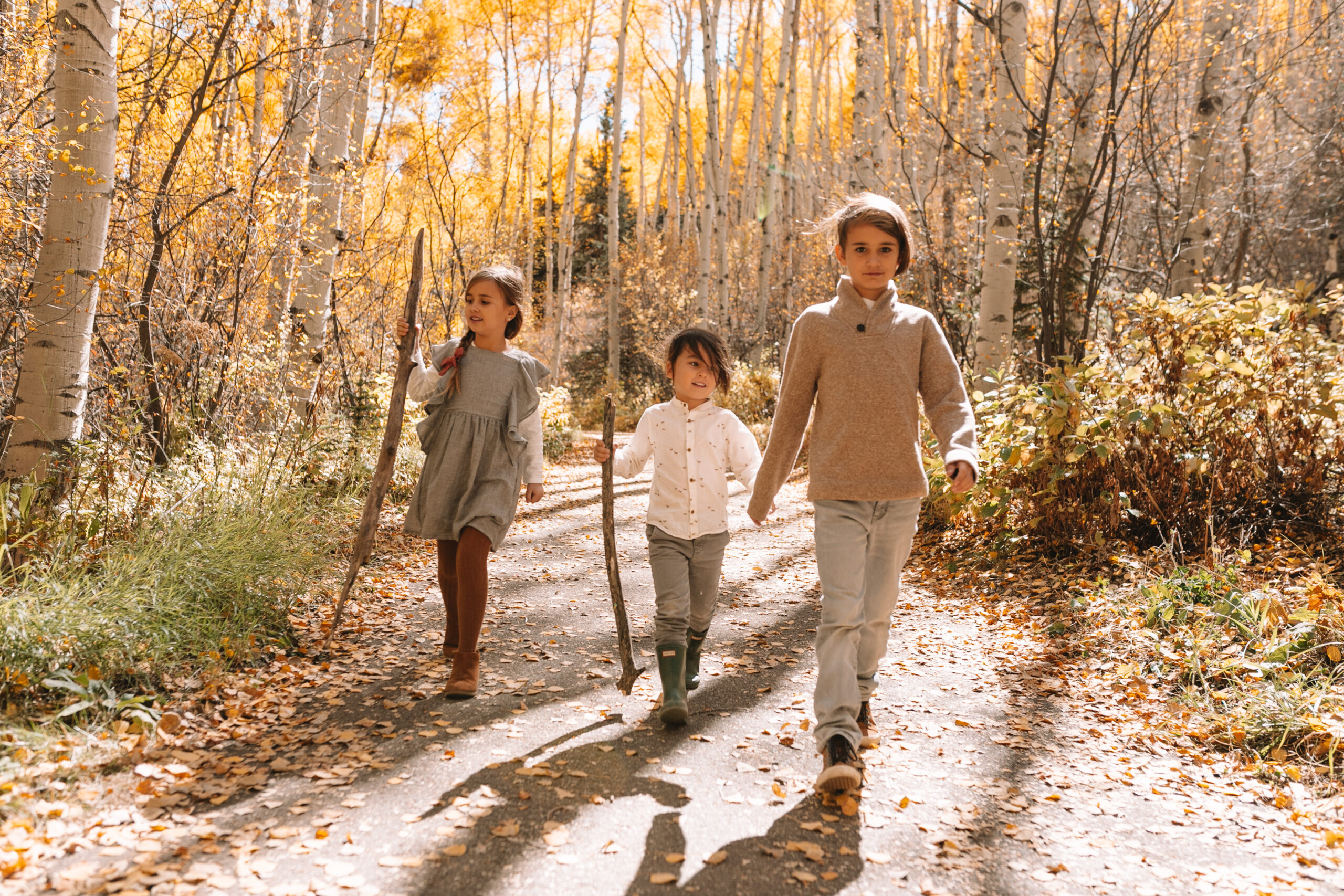 my three musketeers tromping through the fall beauty in colorado! #aspenleaves #fallinaspen #findingfall
