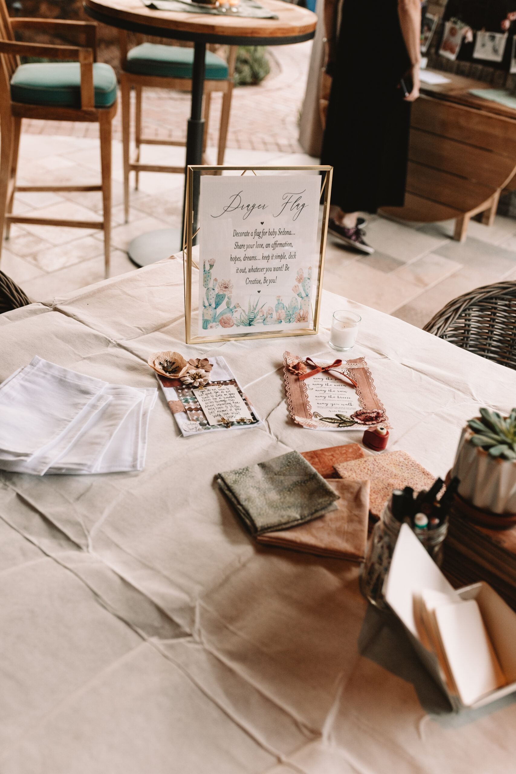 create a prayer flag with messages for the new baby from all of her loved ones #babyshowerideas #babyshoweractivity #babyshowergames #bohochicbabyshwer