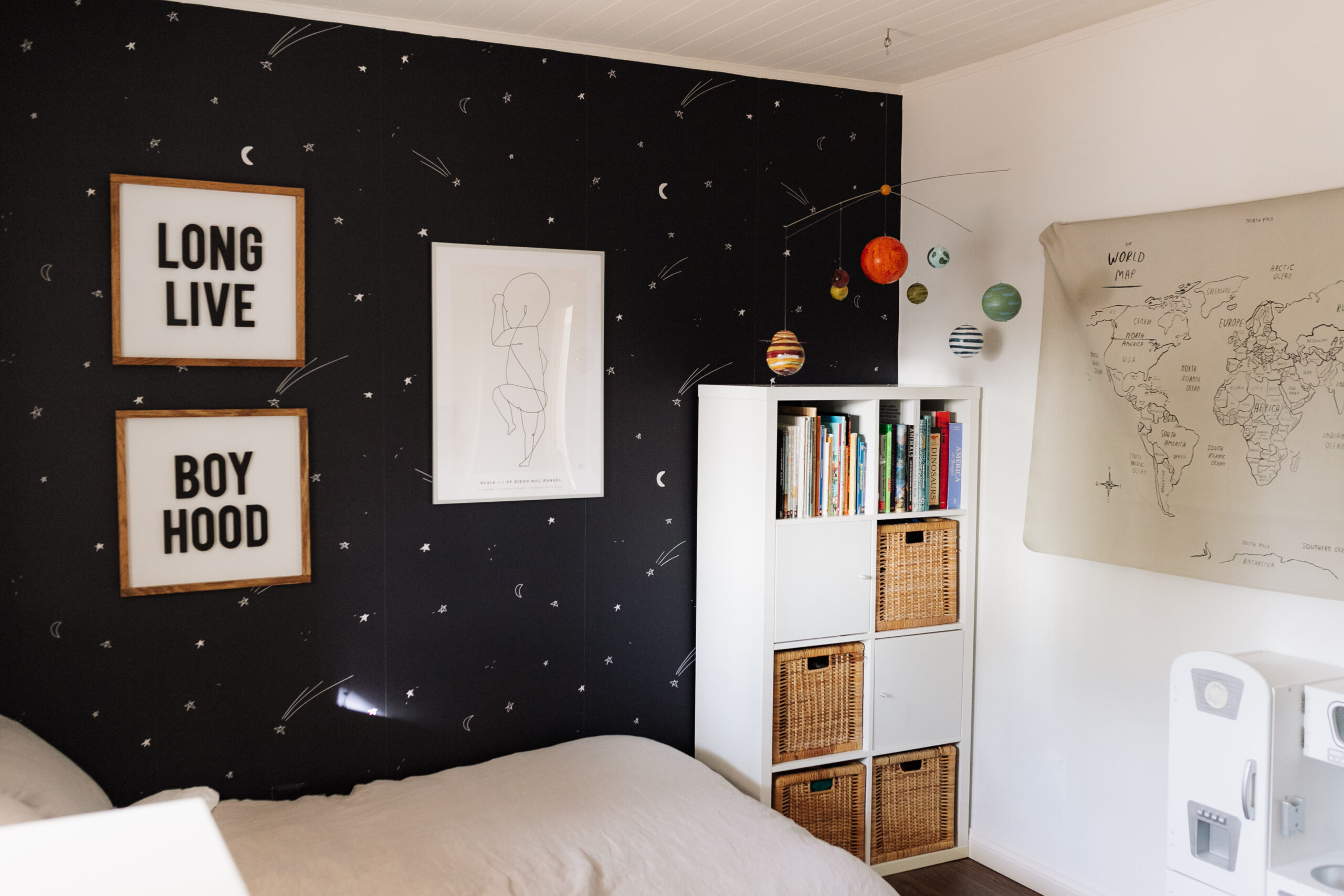"making the most out of the small ""space"" in this space-inspired bedroom for my boy #theldlhome #spaceroom #planets"
