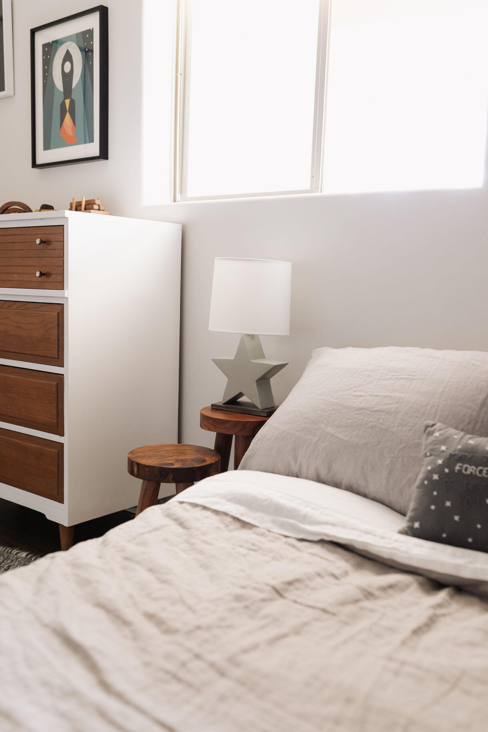 sweet space inspired bedroom #theldlhome #homedesign #kidsroom #linenbedding