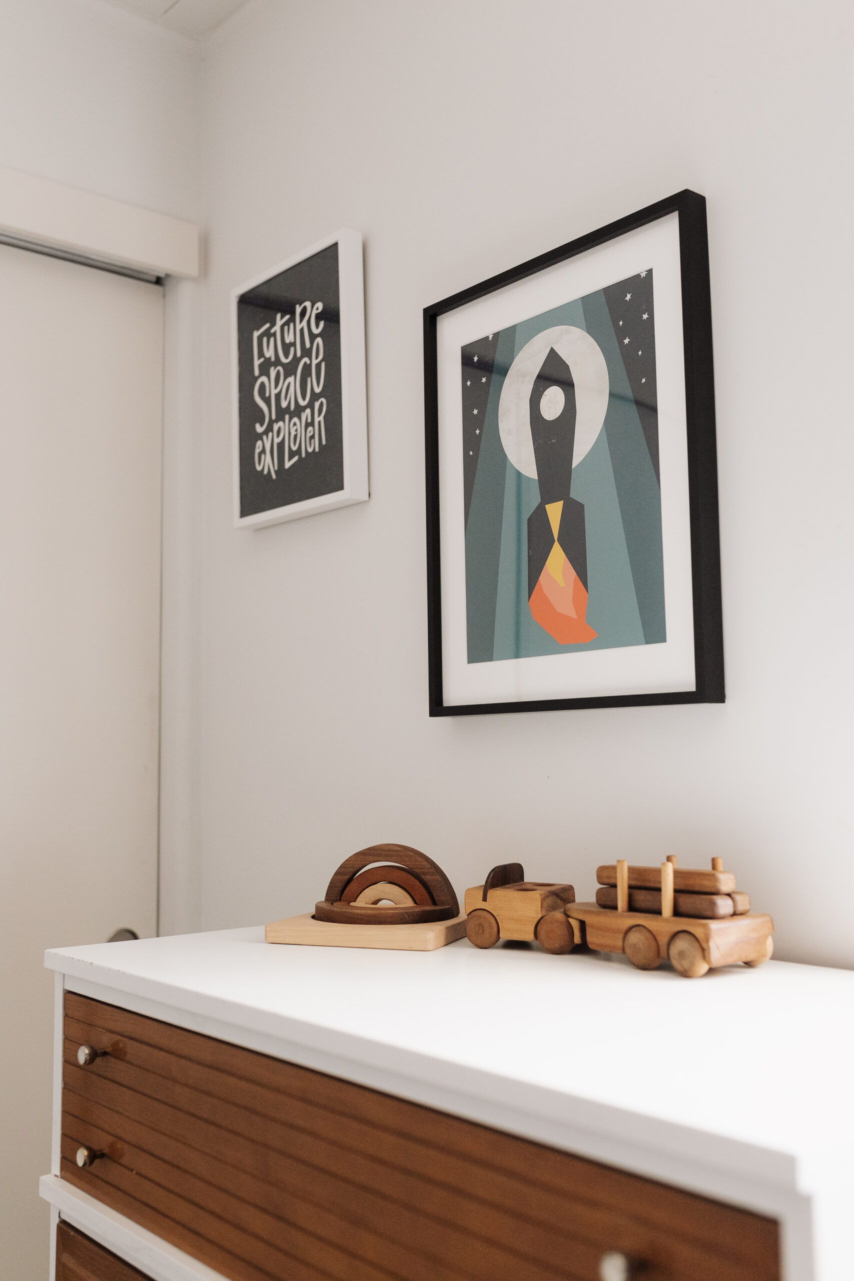 details of the art in this space inspired room #artwork #minted #customprints #spaceart