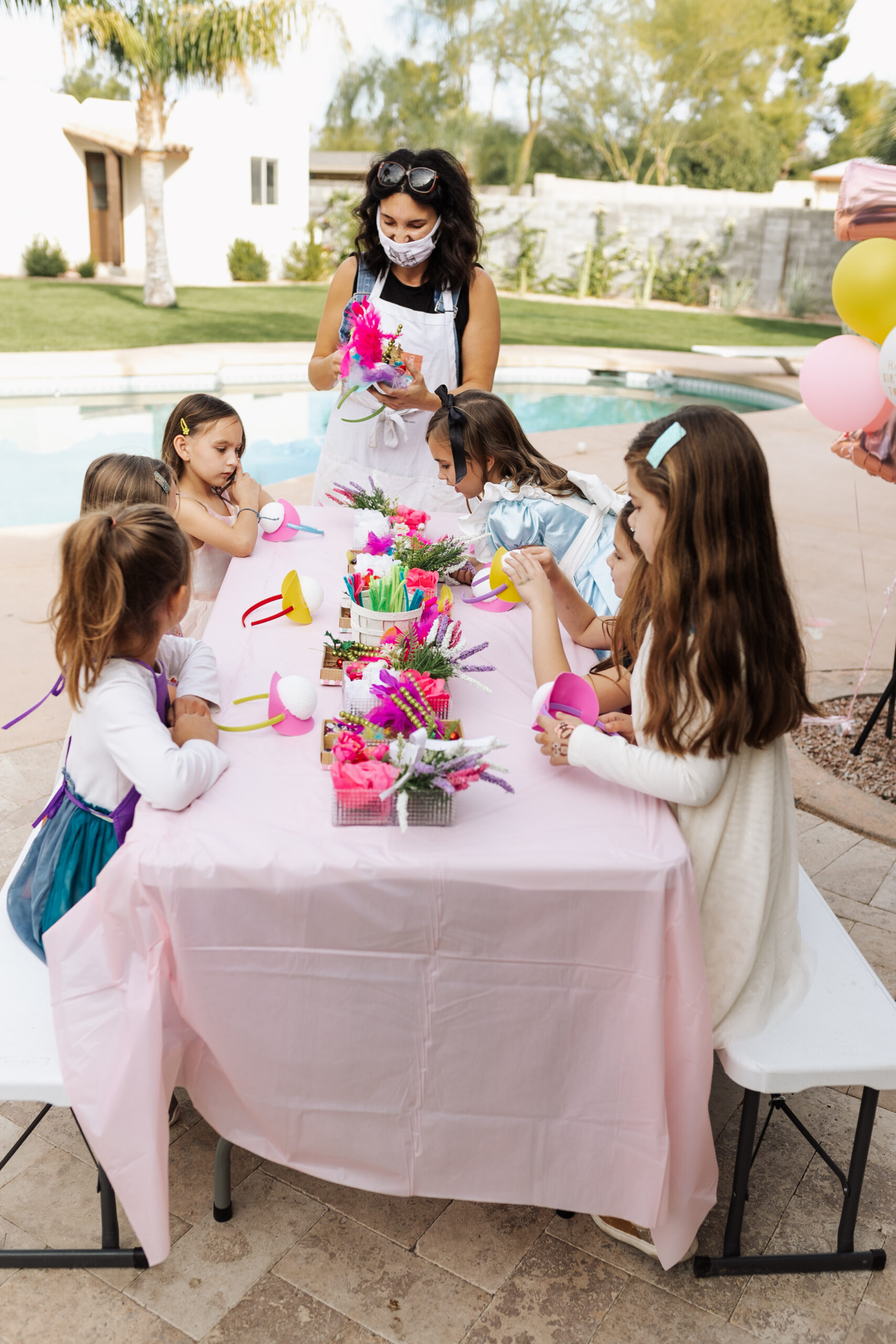masterpiece art parties with a mad hatter craft for the girls! #thelovedesignedlife #masterpieceartparties #madhatterteaparty