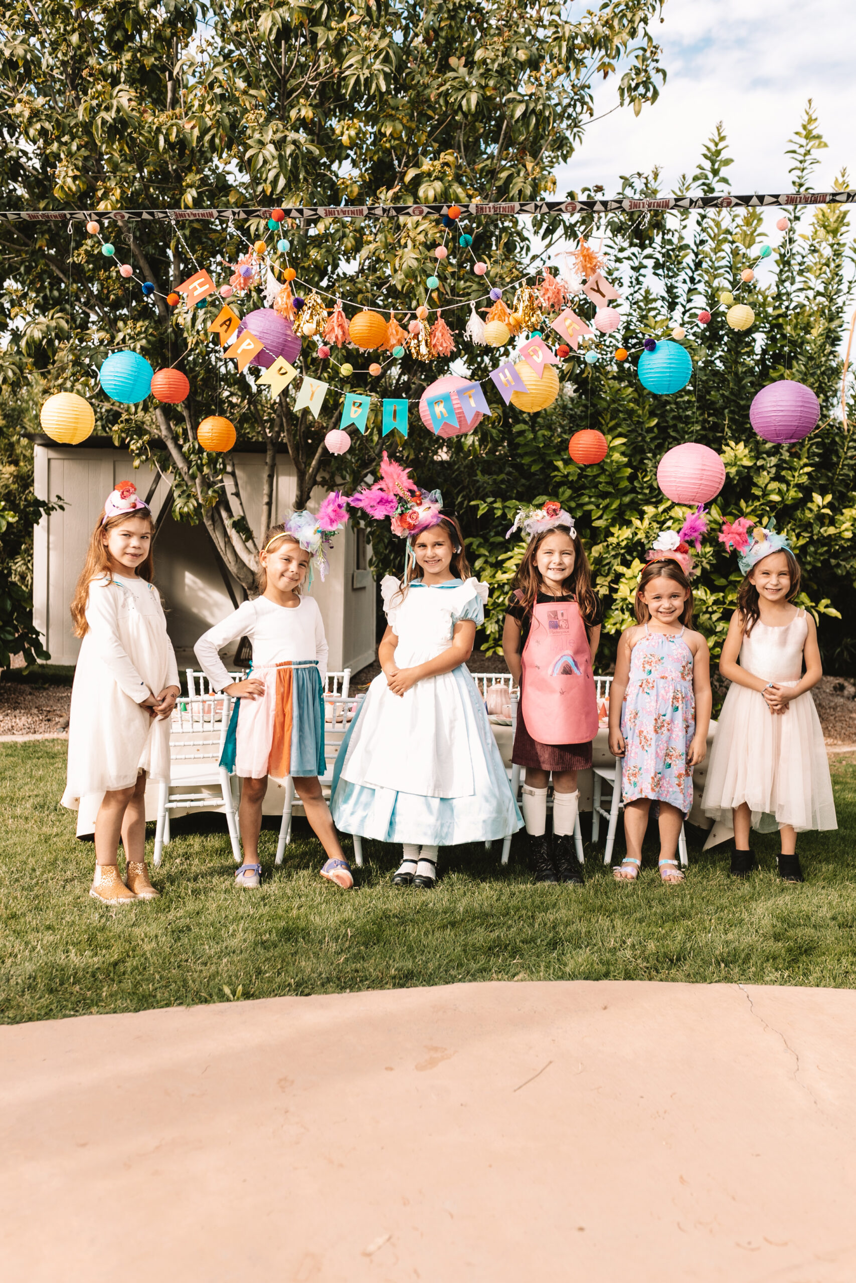 all the girls and their mad hats for this very merry unbirthday party #thelovedesignedlife #kidspartyideas #birthdayparty #girlsbirthdayparty