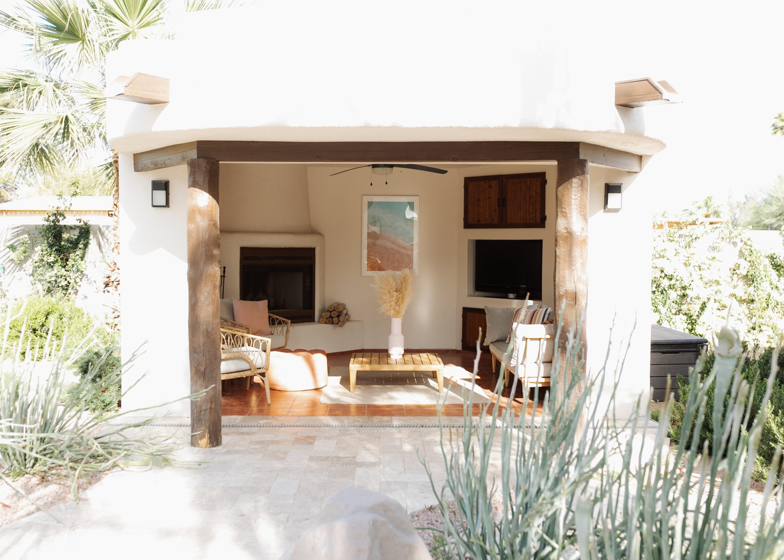 a peek at our pool ramada, with modern furniture and a beachy boho vibe #modernbackyard #arizonaliving #poolramada #backyarddesign