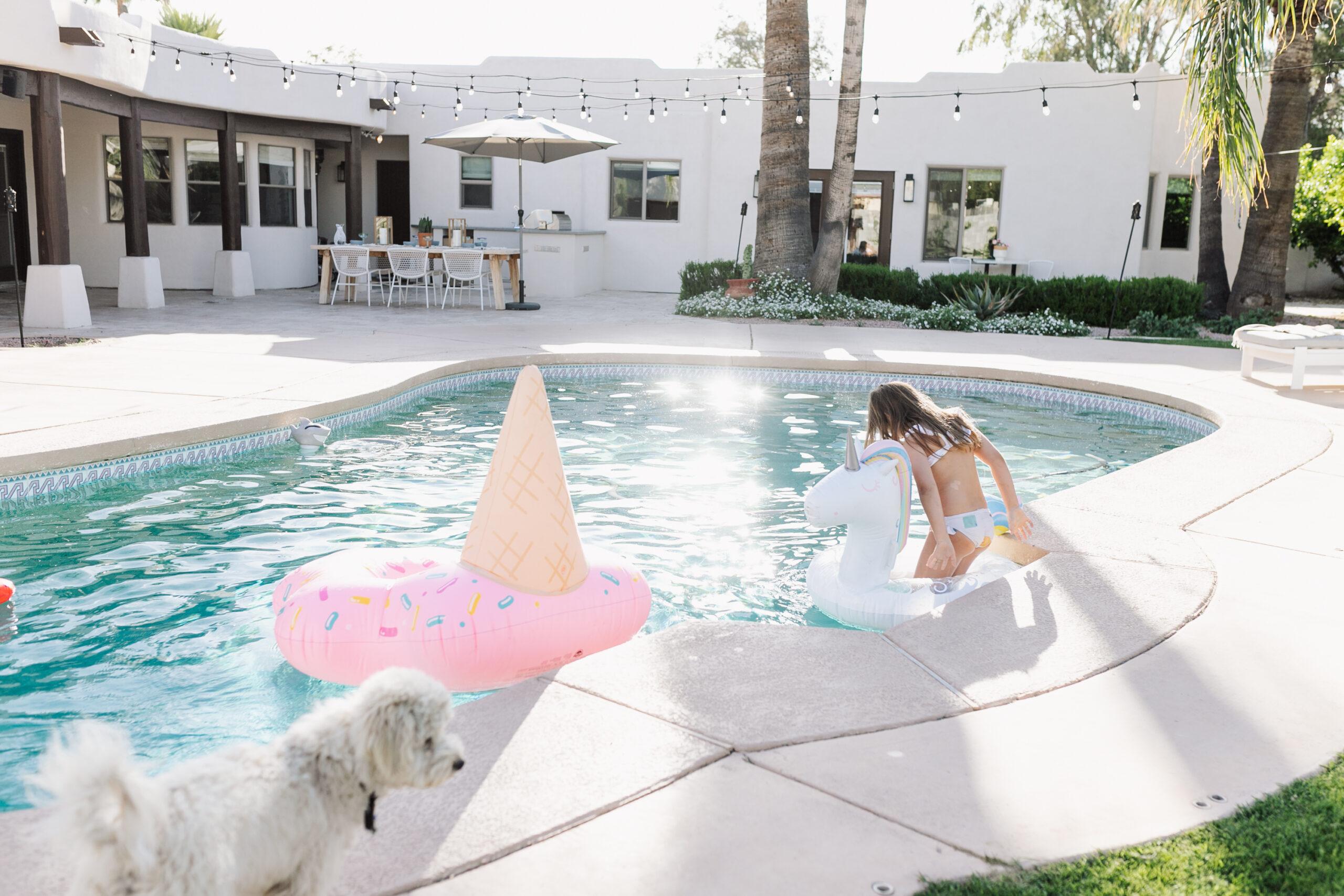 swimming in our backyard #theldlhome #backyardpool #backyardliving