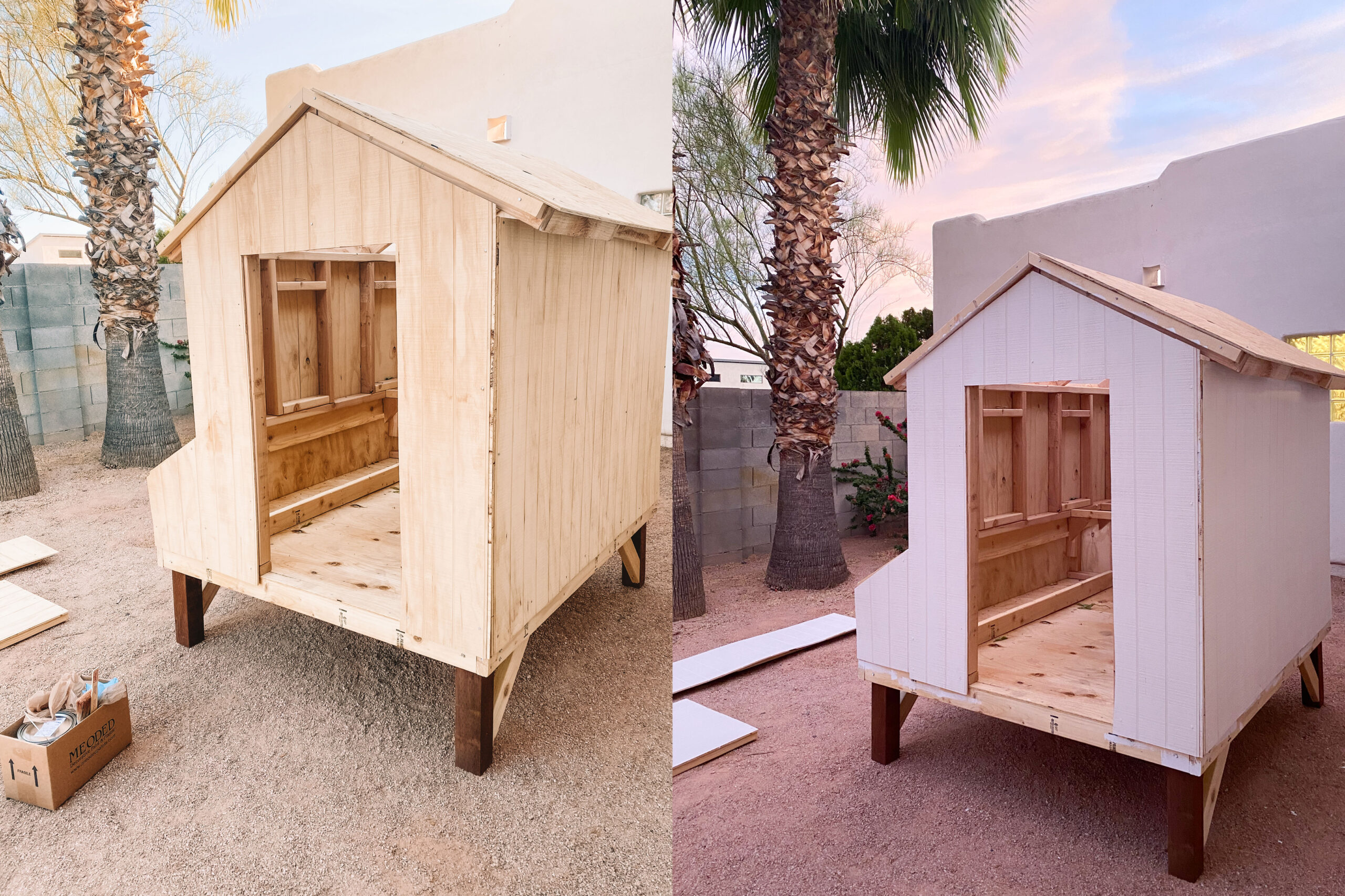 progress steps on our home-made chicken coop #thelovedesignedlife #DIYchickencoop