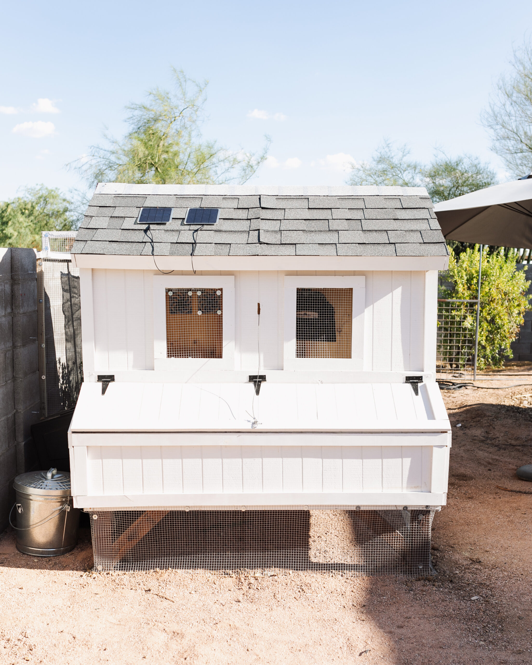 come take a tour of our finished desert chicken coop and run #theldlhome #chickencoop #DIYchickencoop #backyardchickencoop