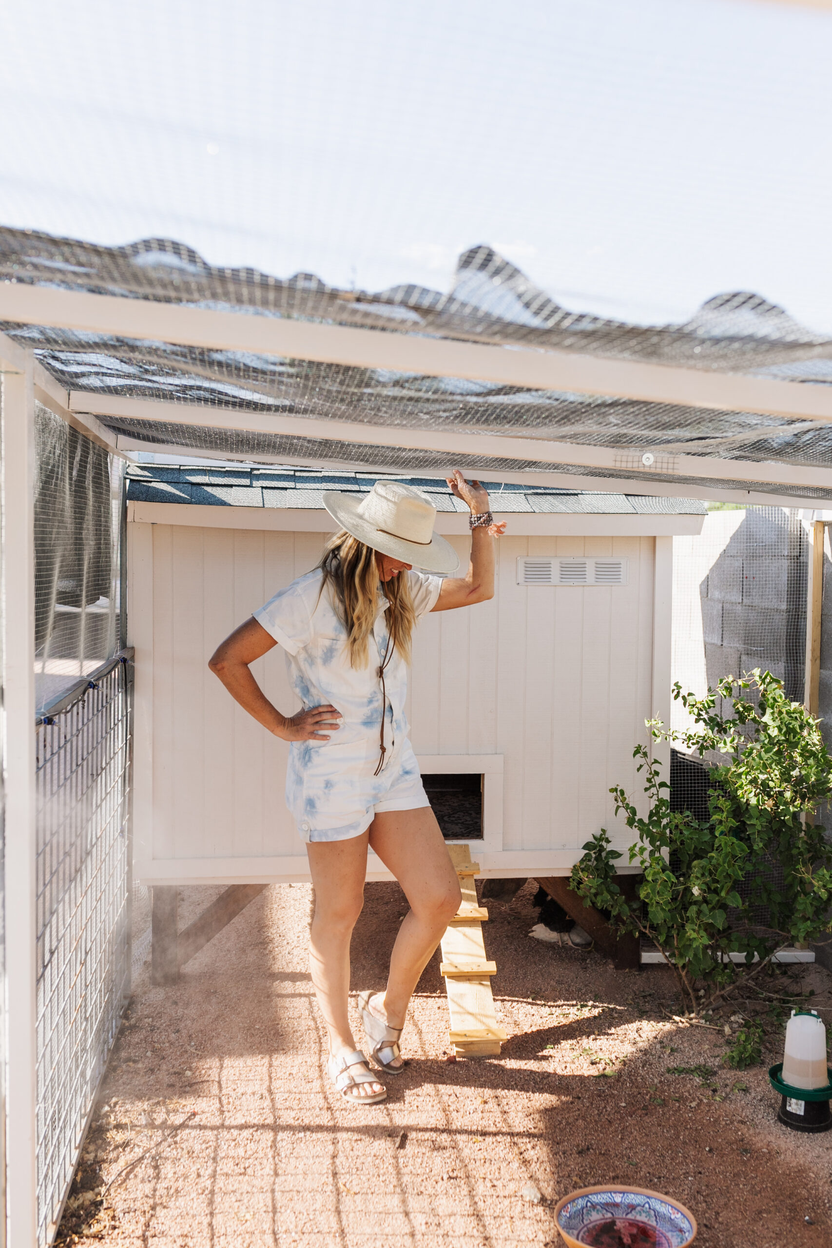 come take a tour of our backyard desert chicken coop and run #thelovedesignedlife #backyard #backyardchickens