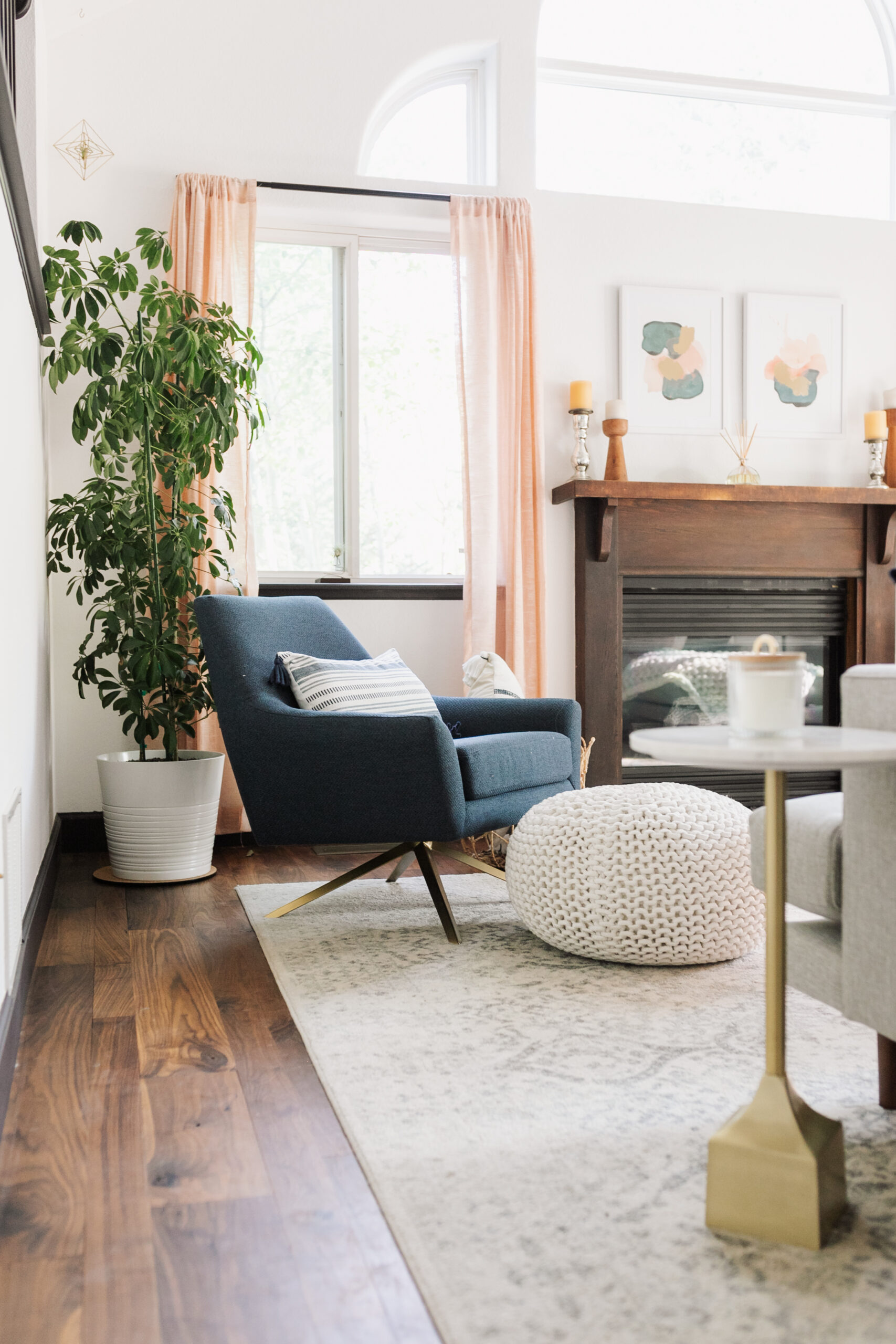 this functional ink blue swivel chair works perfectly in this multi-functional living room space #thelovedesignedlife #theldlhome #swivelchair #article #ourarticle #spininbluechair